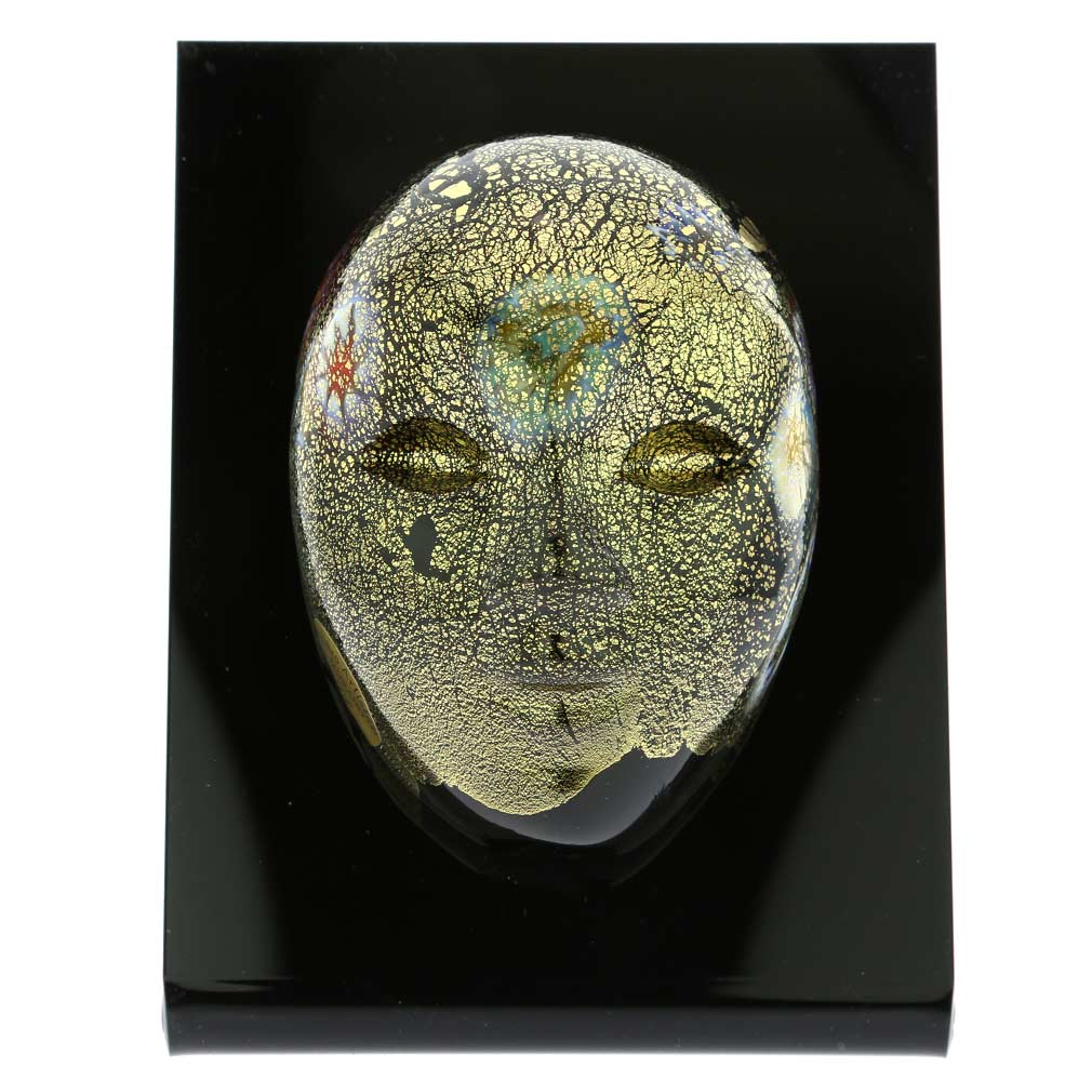 Murano Glass Venetian Carnival Mask - Black