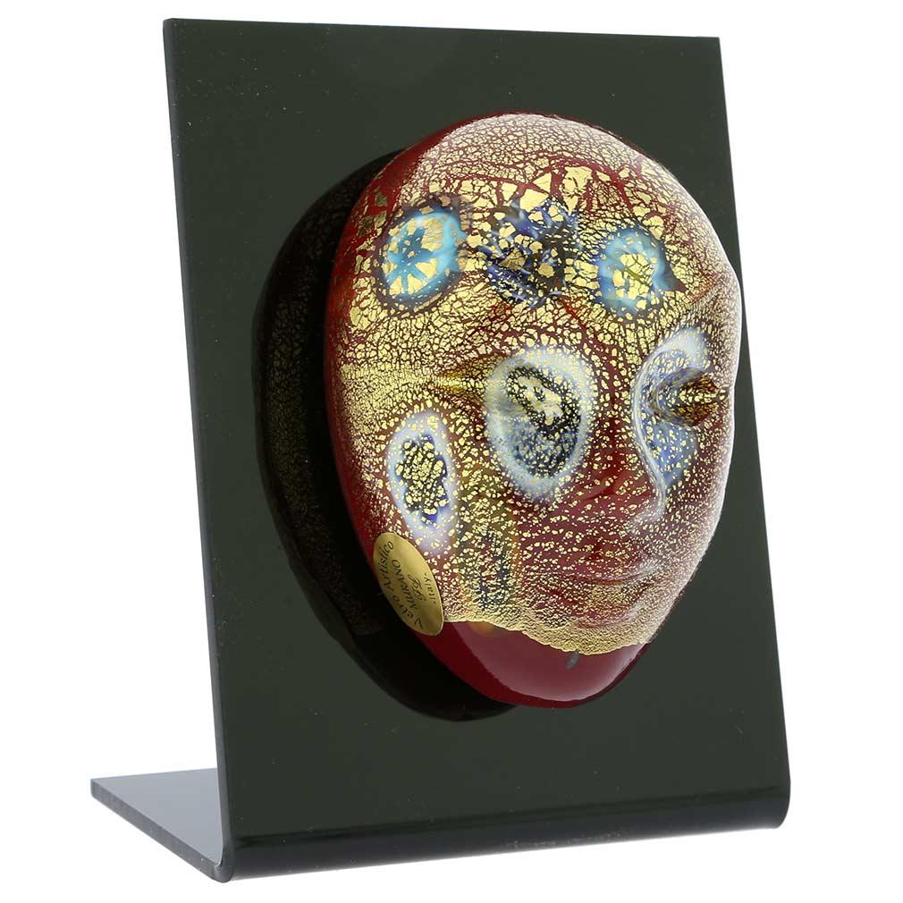 Murano Glass Venetian Carnival Mask - Red