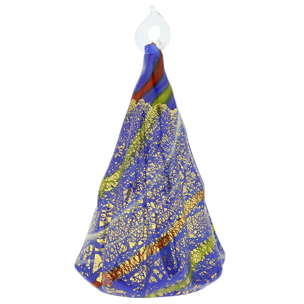 Murano Glass Christmas Tree Hanging Figurine - Blue
