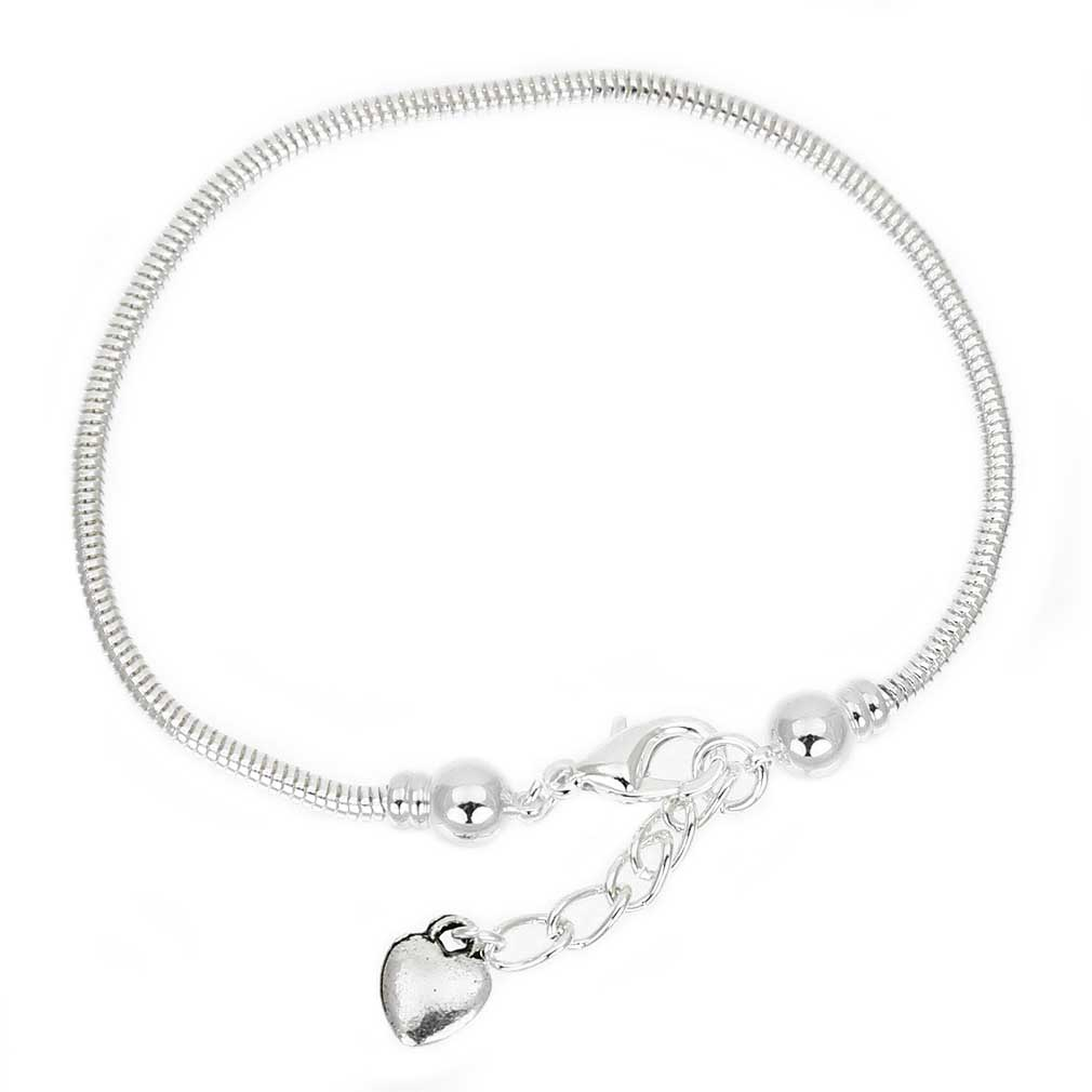 Silver-Plated Snake Chain Charm Bead Bracelet