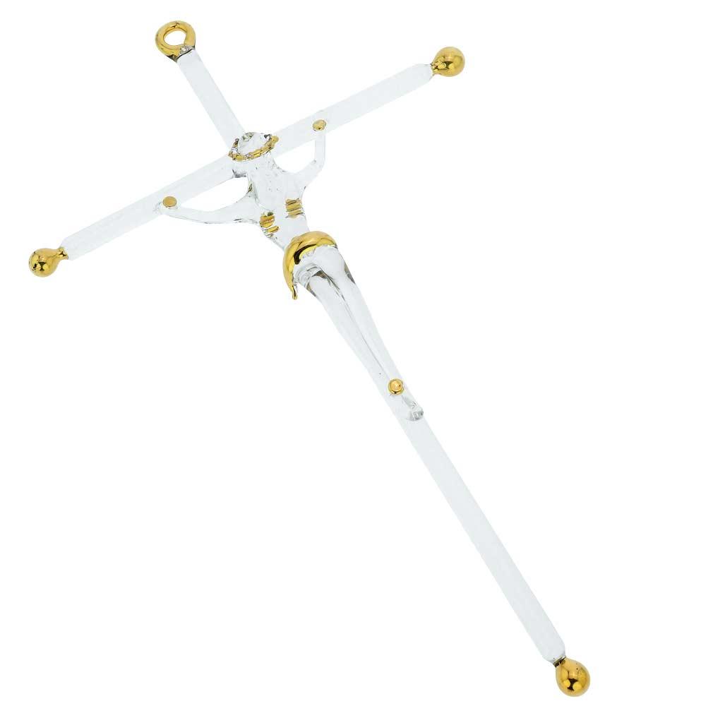 Murano Glass Wall Crucifix Medium - Clear Gold
