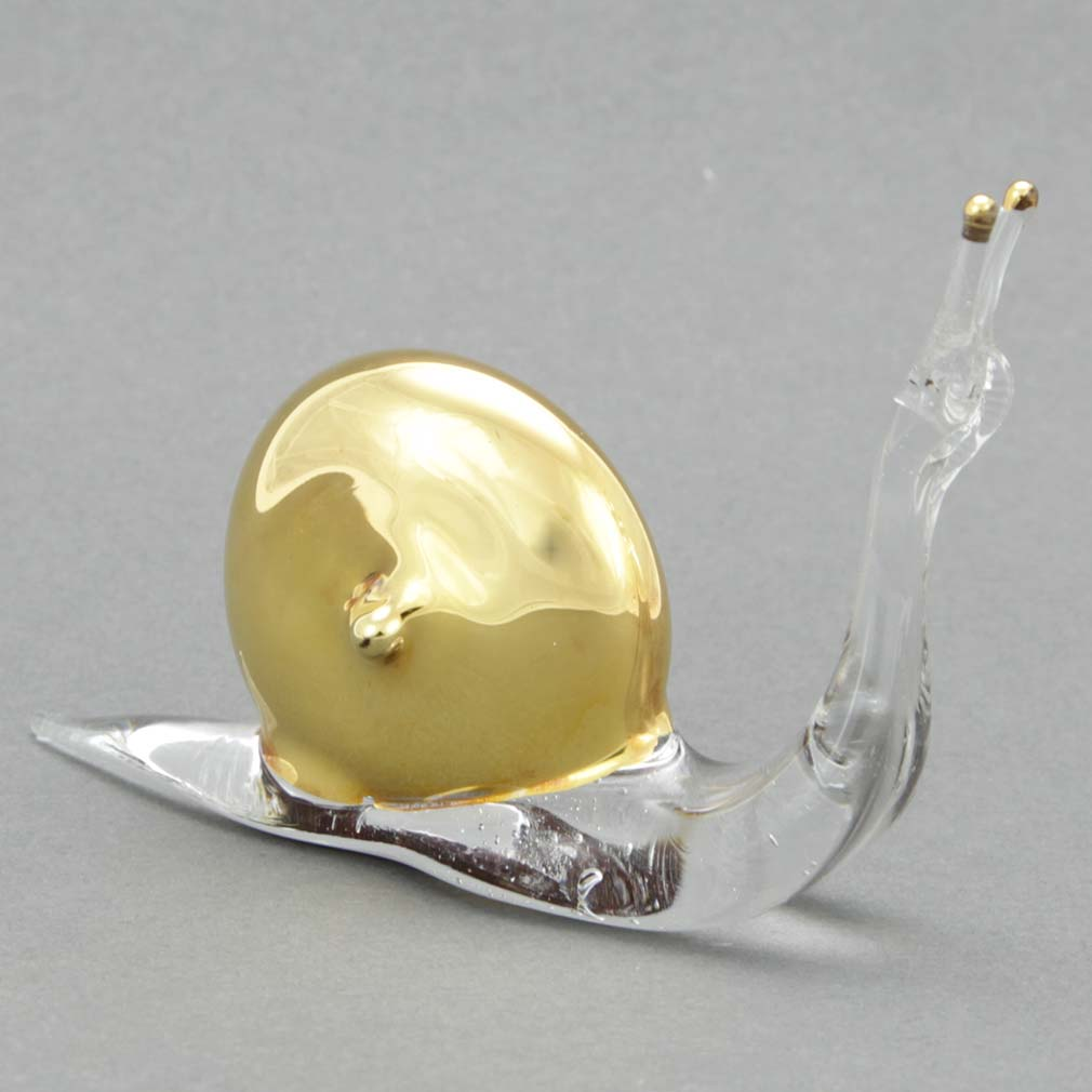 Murano Glass Cristallo and Gold Snail