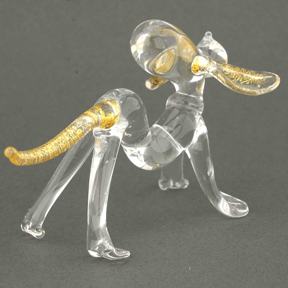Murano Glass Cristallo and Gold Dog