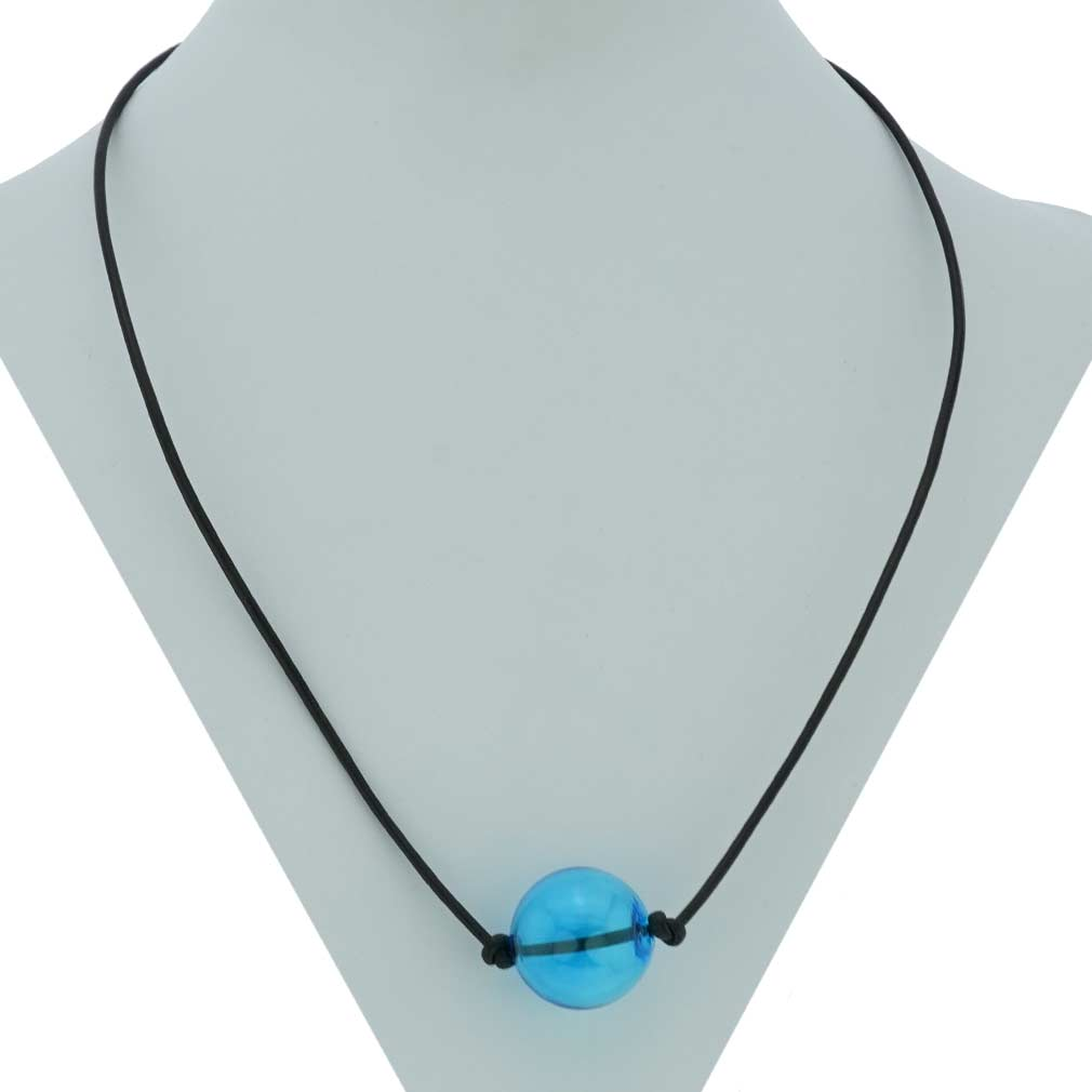 Murano Glass Blown Ball Necklace - Aqua Blue