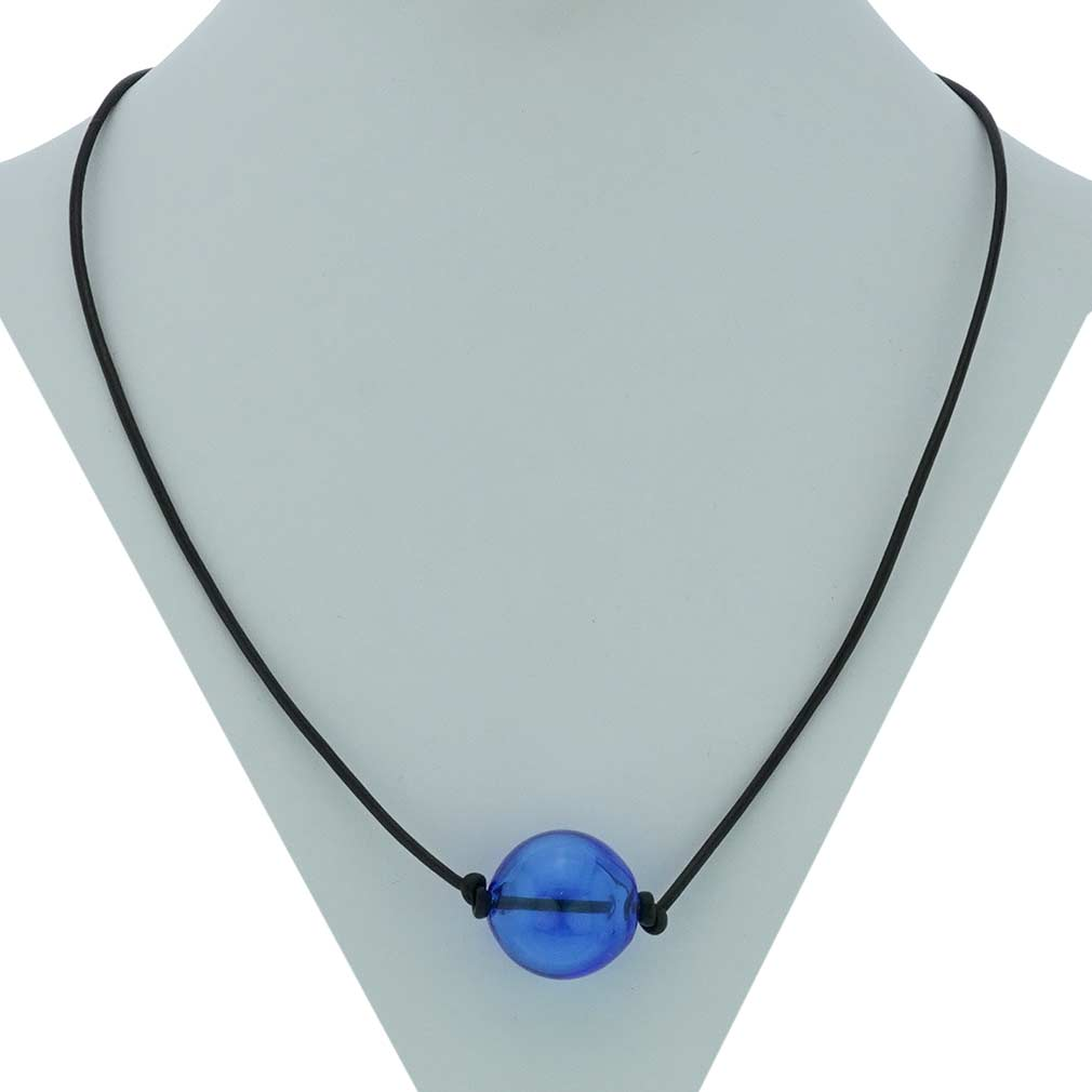 Murano Glass Blown Ball Necklace - Blue