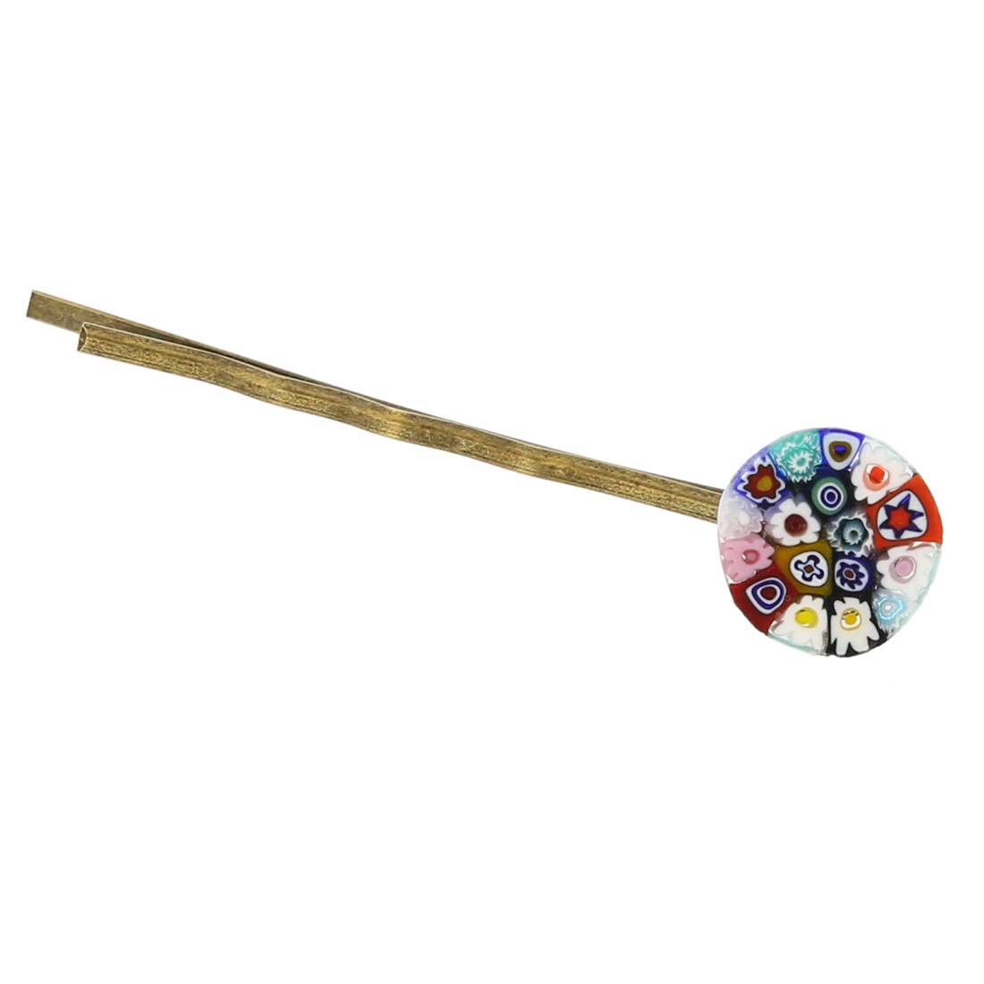 Millefiori Hair Pin - Round Multicolor