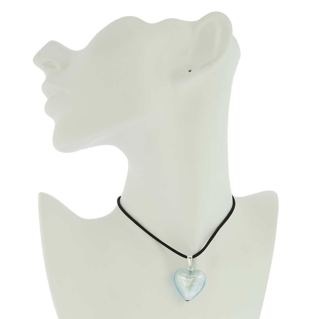 Murano Heart Pendant - Silver Ice