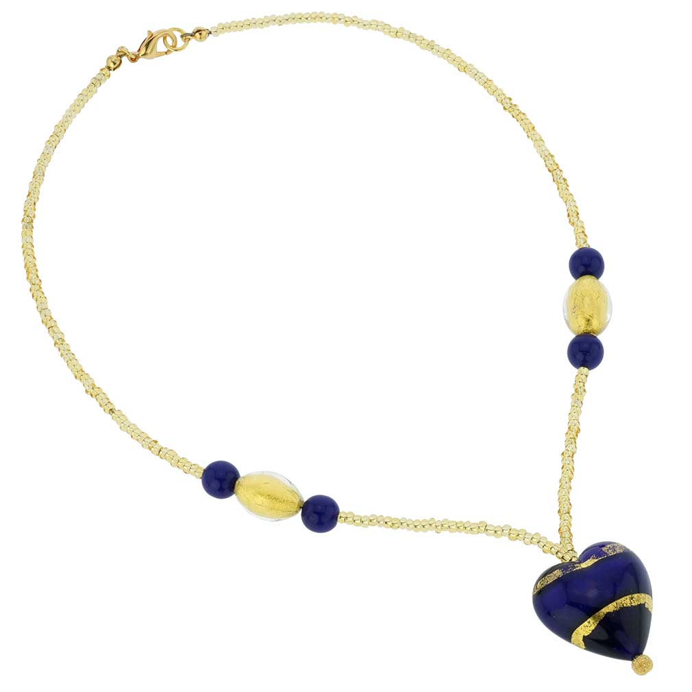 Murano Heart Necklace - Gold and Blue