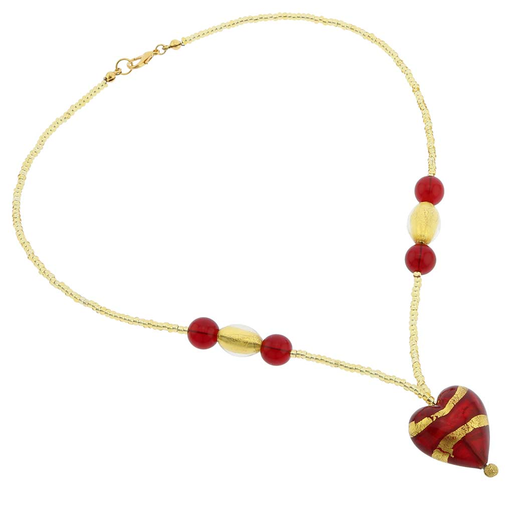 Murano Heart Necklace - Gold and Red