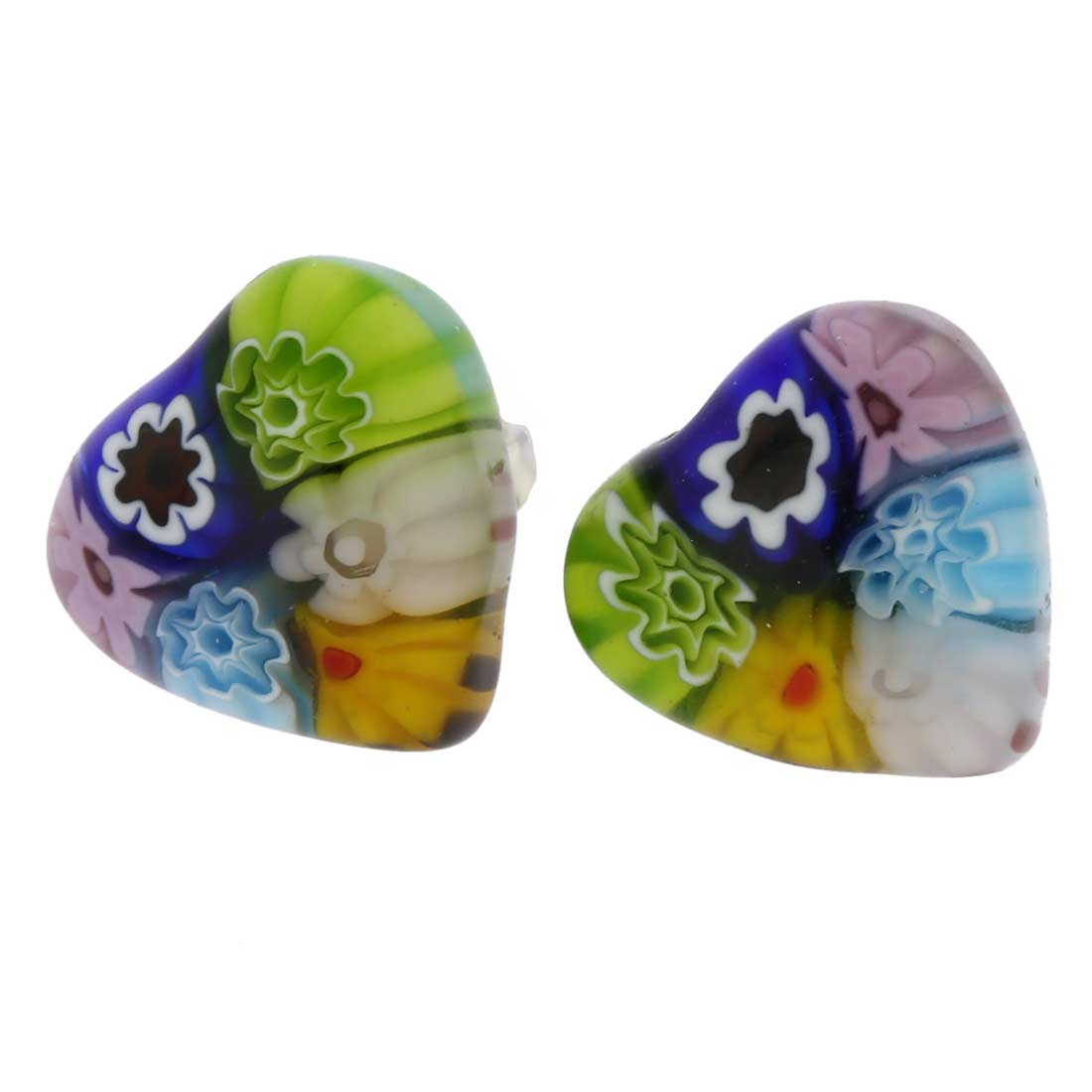 Millefiori Heart Stud Earrings #1