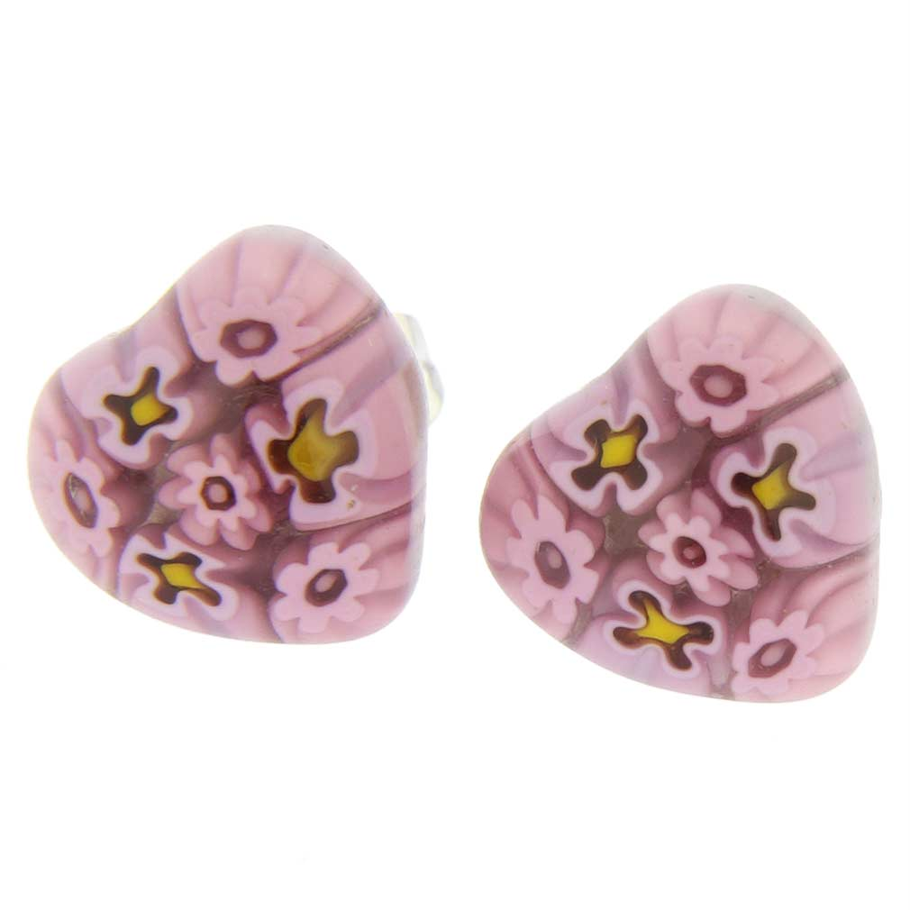 Millefiori Heart Stud Earrings #5