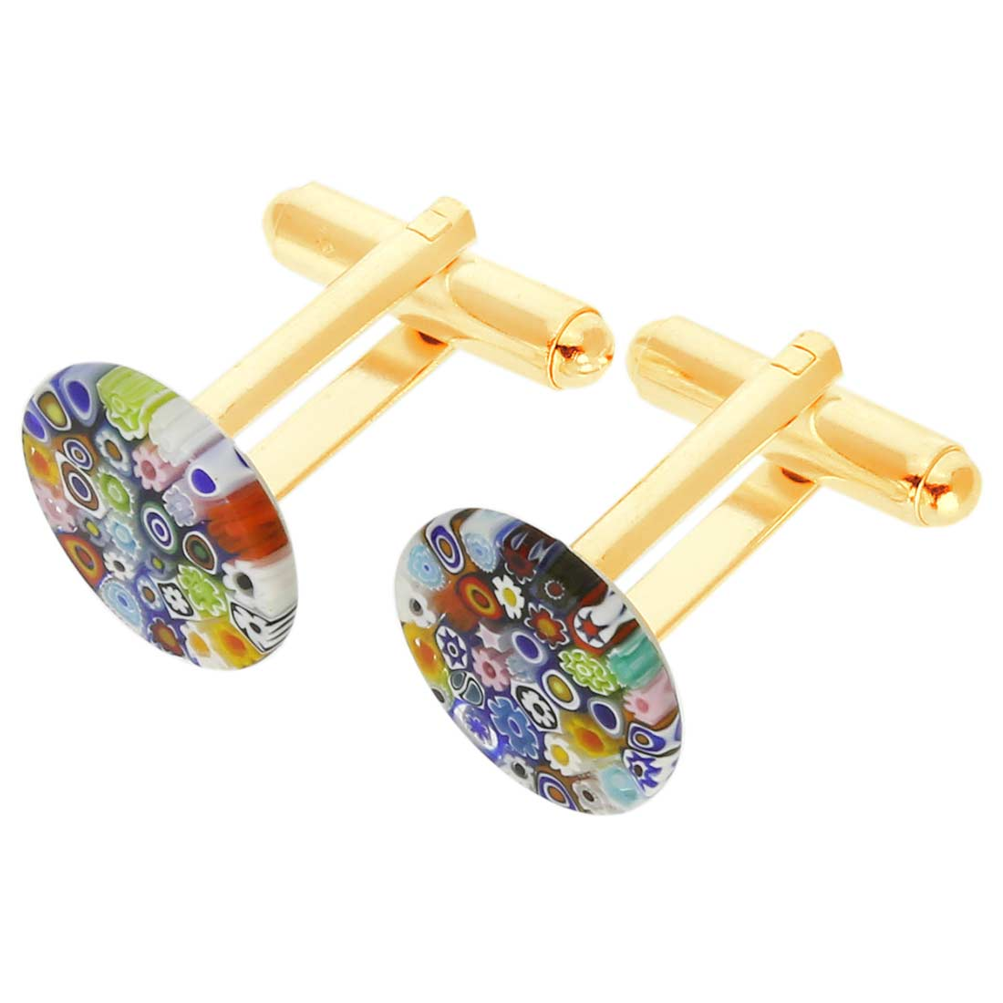 Color Splash Murano Millefiori Cufflinks - 1/2 Inch