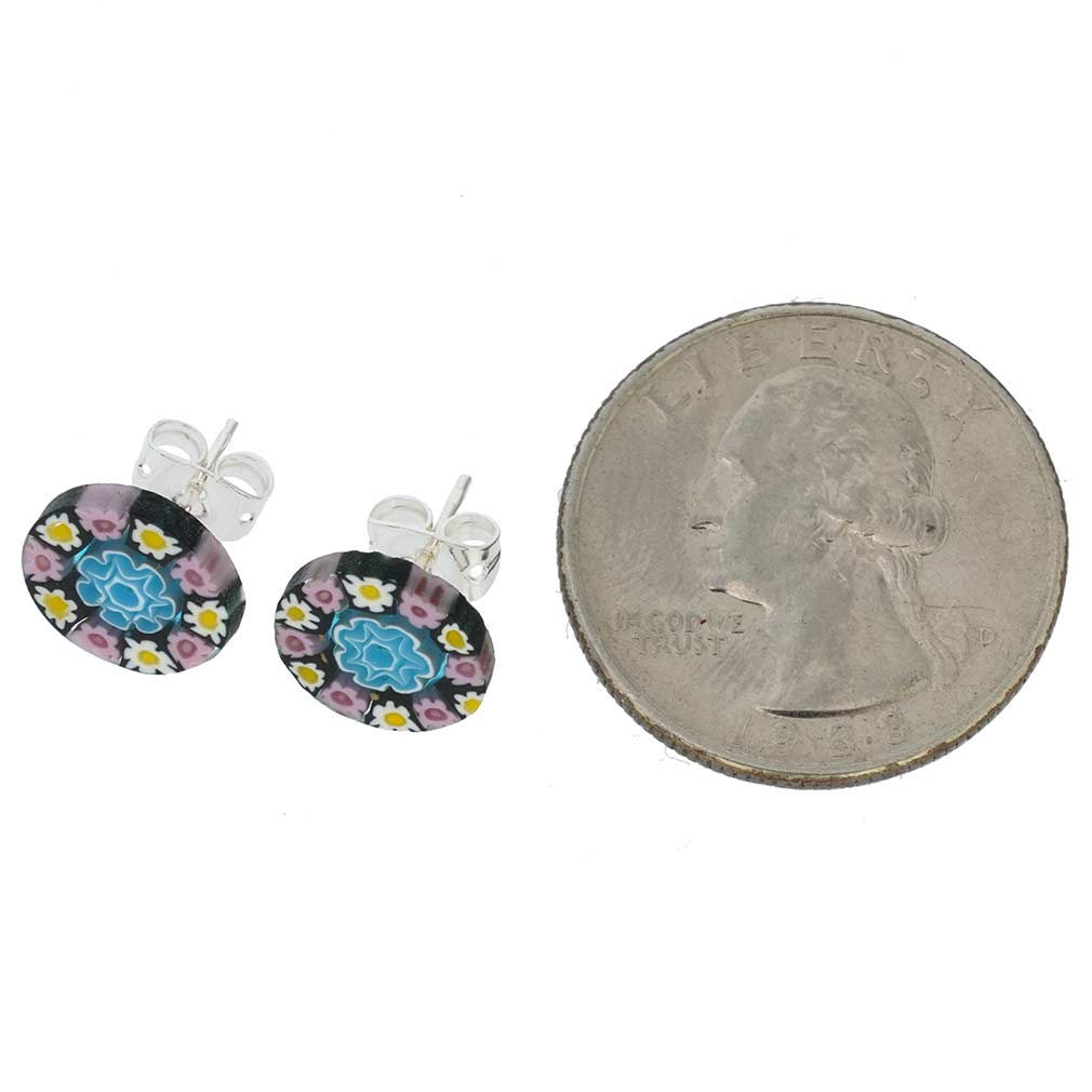 Millefiori Stud Earrings - Round