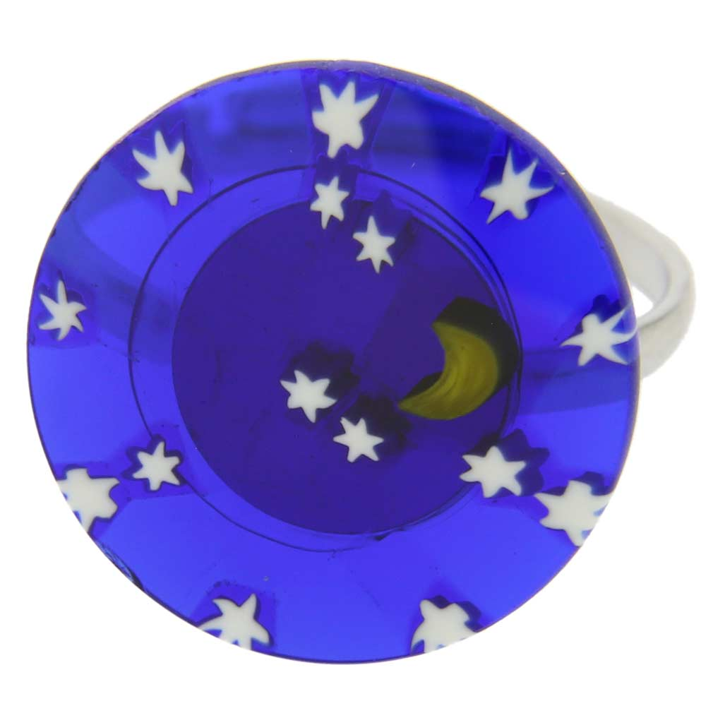 "Murano Millefiori ""Starry Night\"" Ring 3/4 Inch"