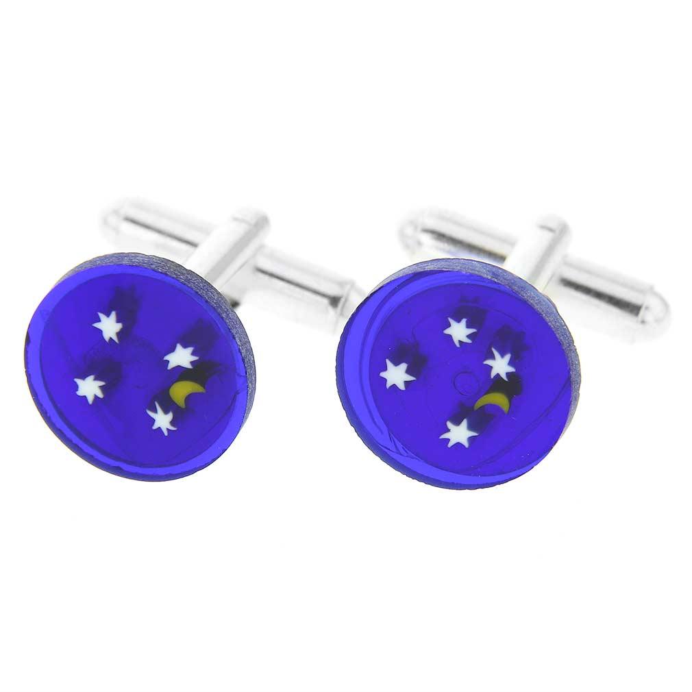 Murano Millefiori Cufflinks - Starry Night - 1/2 Inch