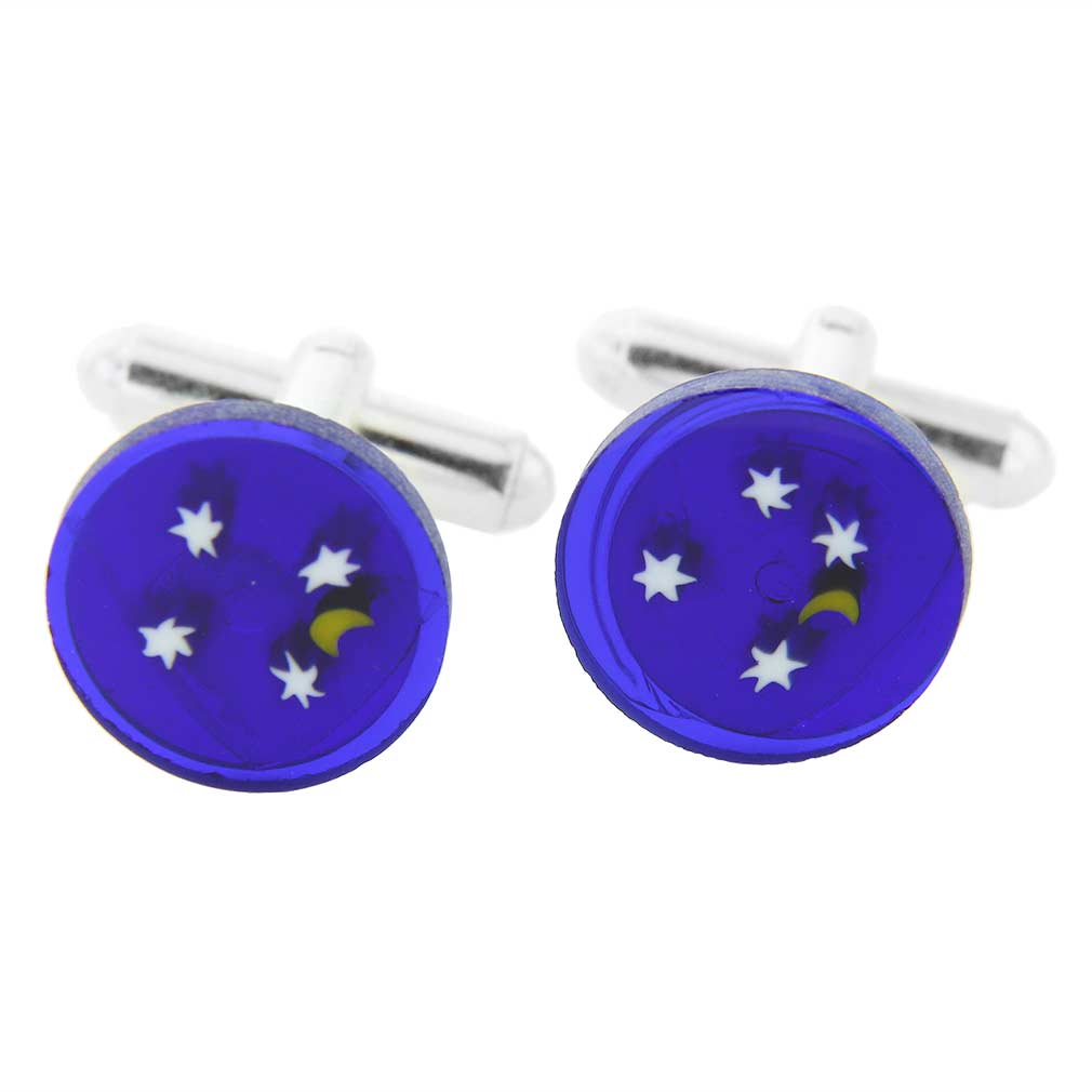 Murano Millefiori Cufflinks - Starry Night - 1/2 Inch