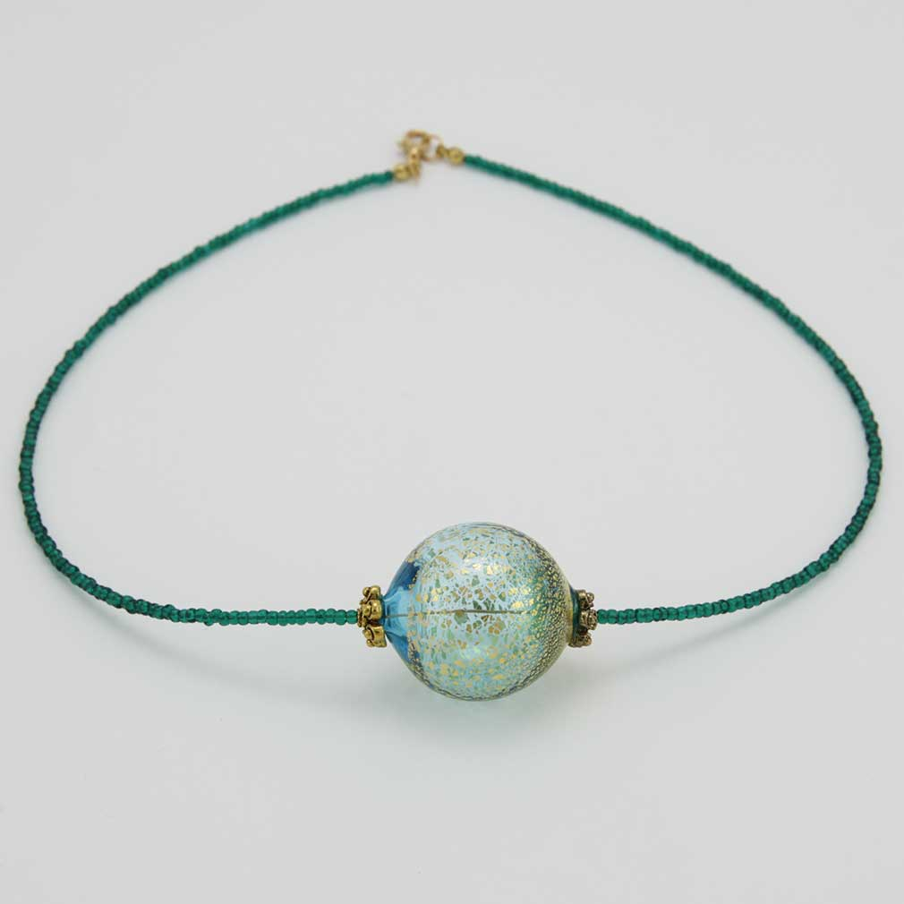 Serenella Murano Necklace - Aqua