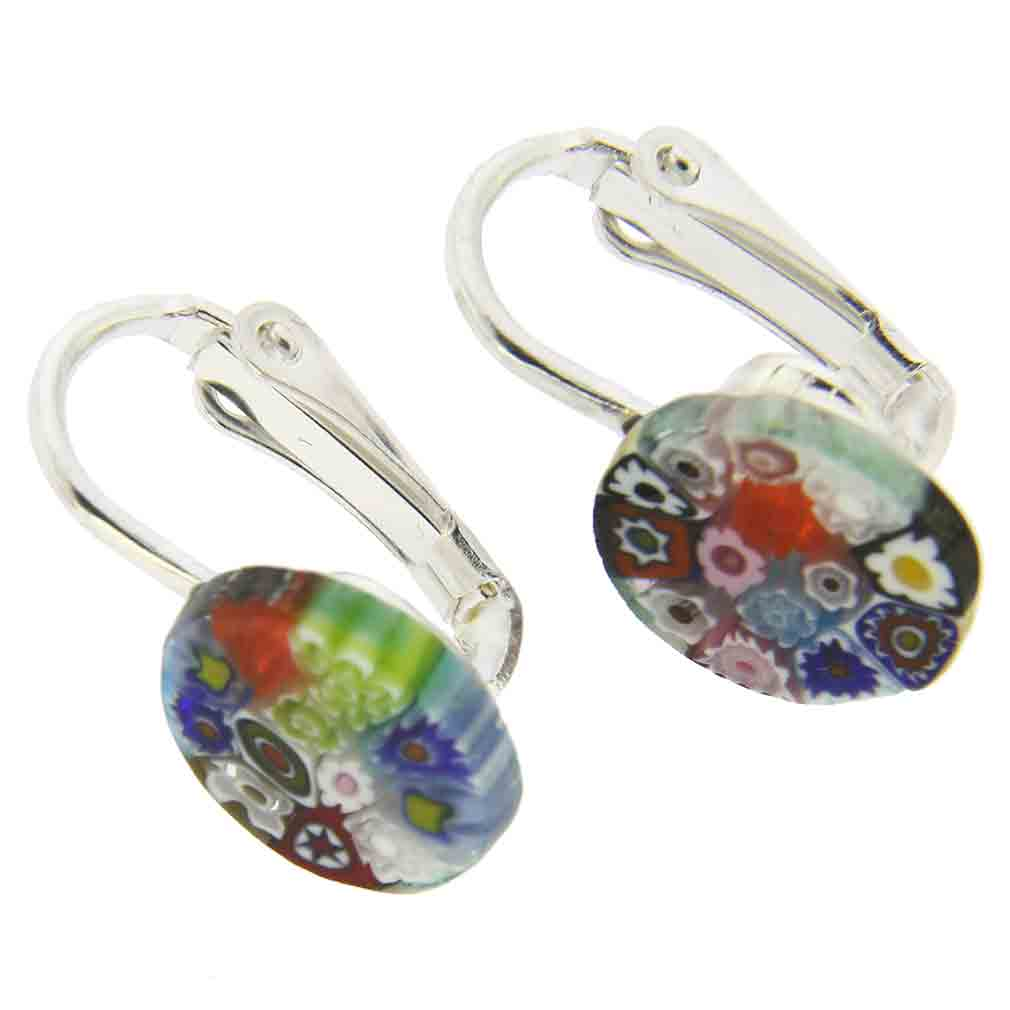 Murano Millefiori Clip Earrings - Multicolor