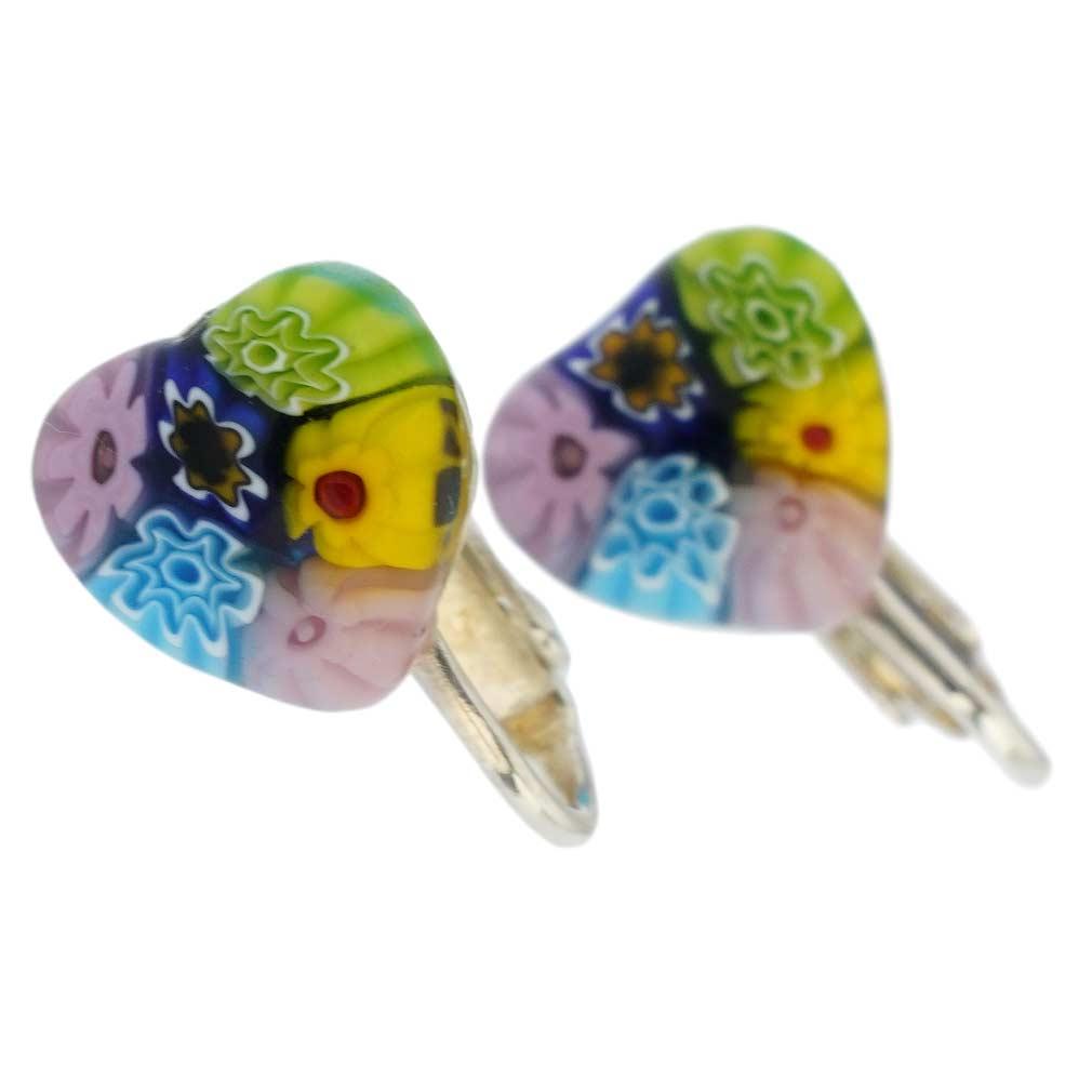 Murano Millefiori Heart Clip Earrings - Multicolor