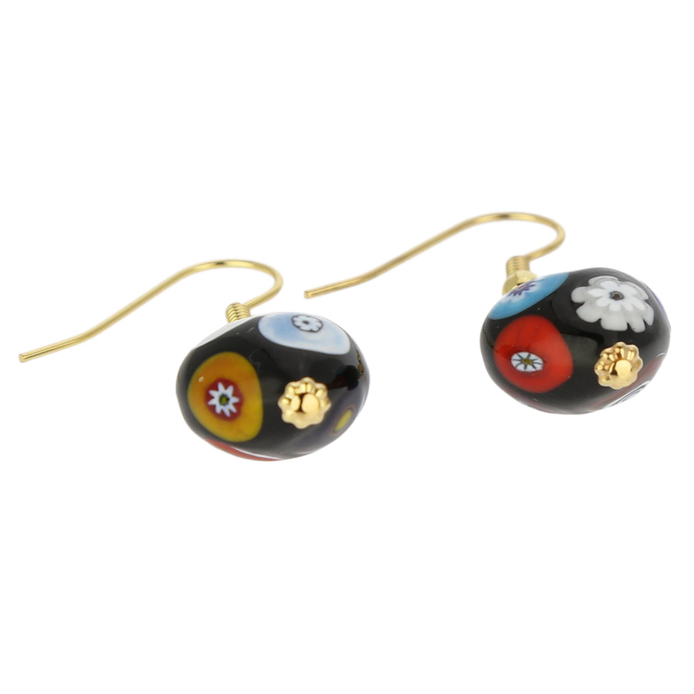 Murano Mosaic Millefiori Heart earrings