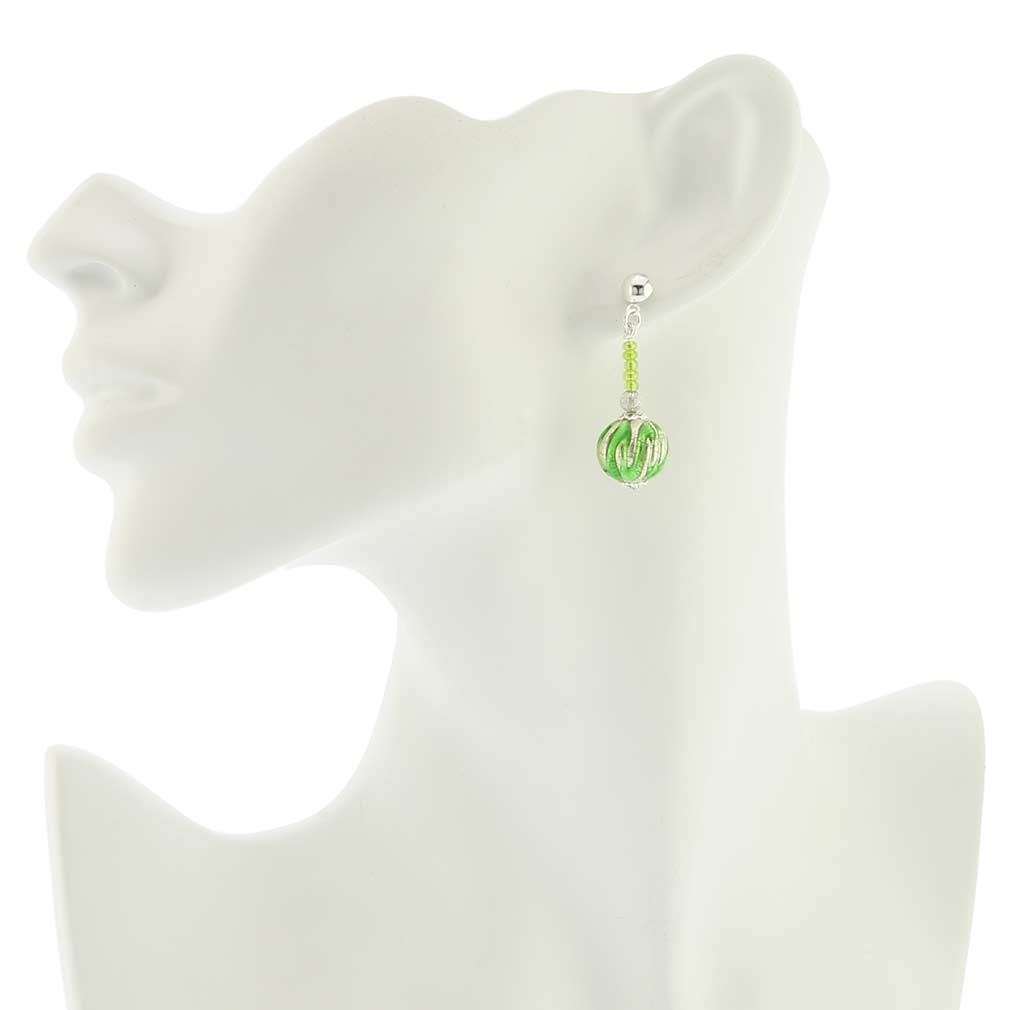Canaletto Earrings - Silver Emerald