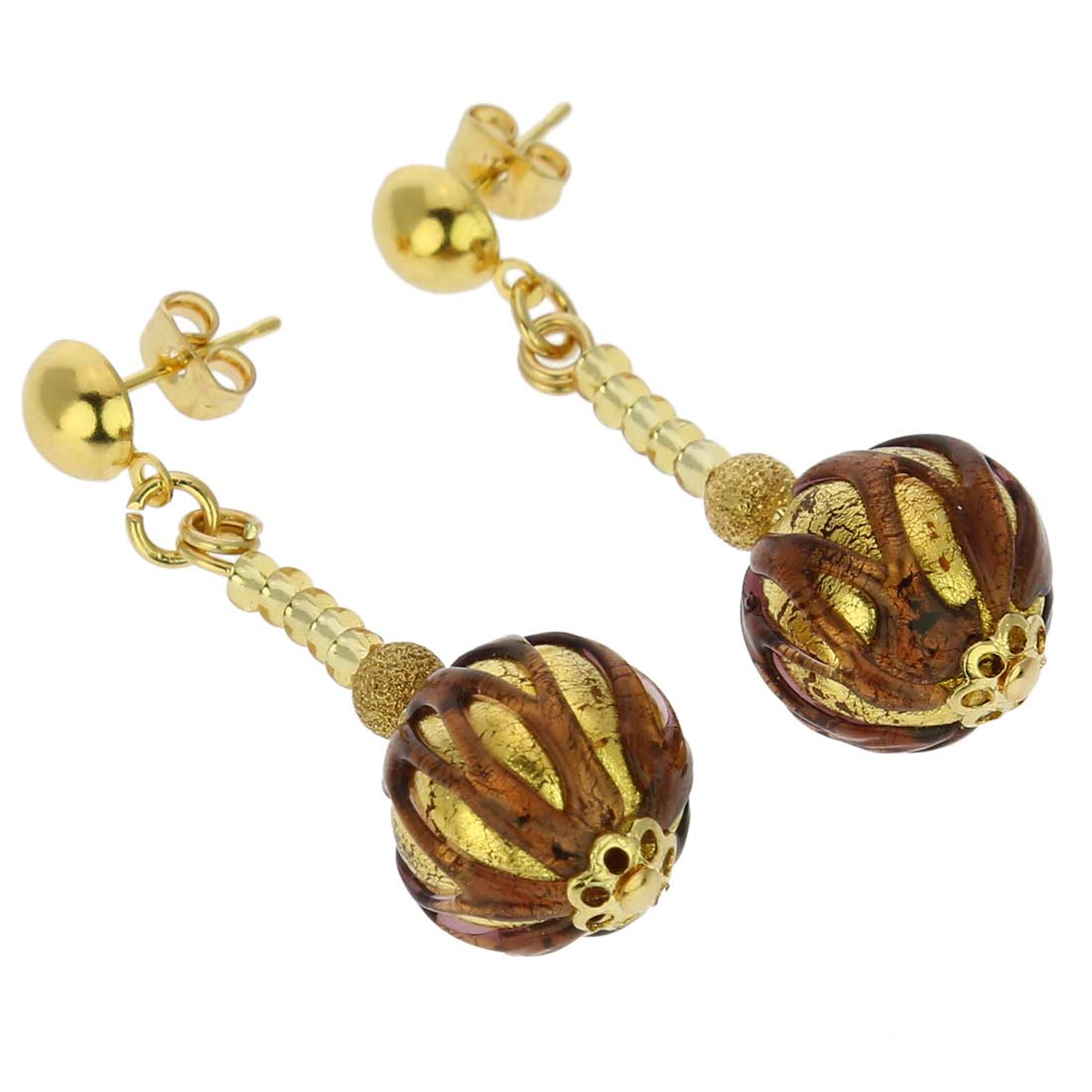 Canaletto Earrings - Gold Dark Topaz