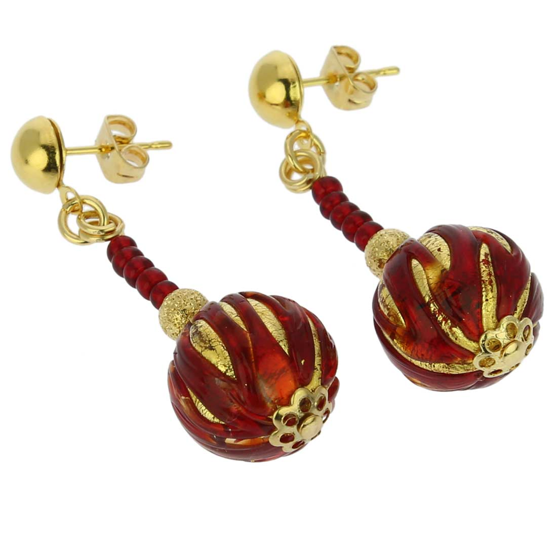 Pink Ruby Jewellery: Canaletto Earrings - Gold Ruby Red