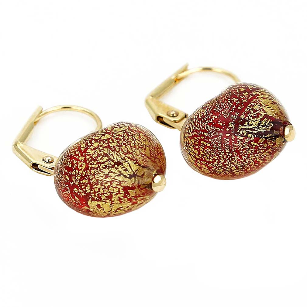 Ca D\'Oro Murano Heart Earrings - Red
