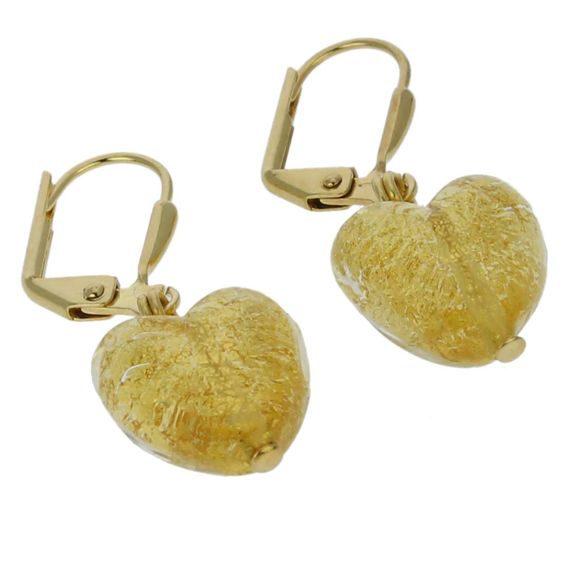 Ca D\'Oro Murano Heart Earrings - Yellow Gold