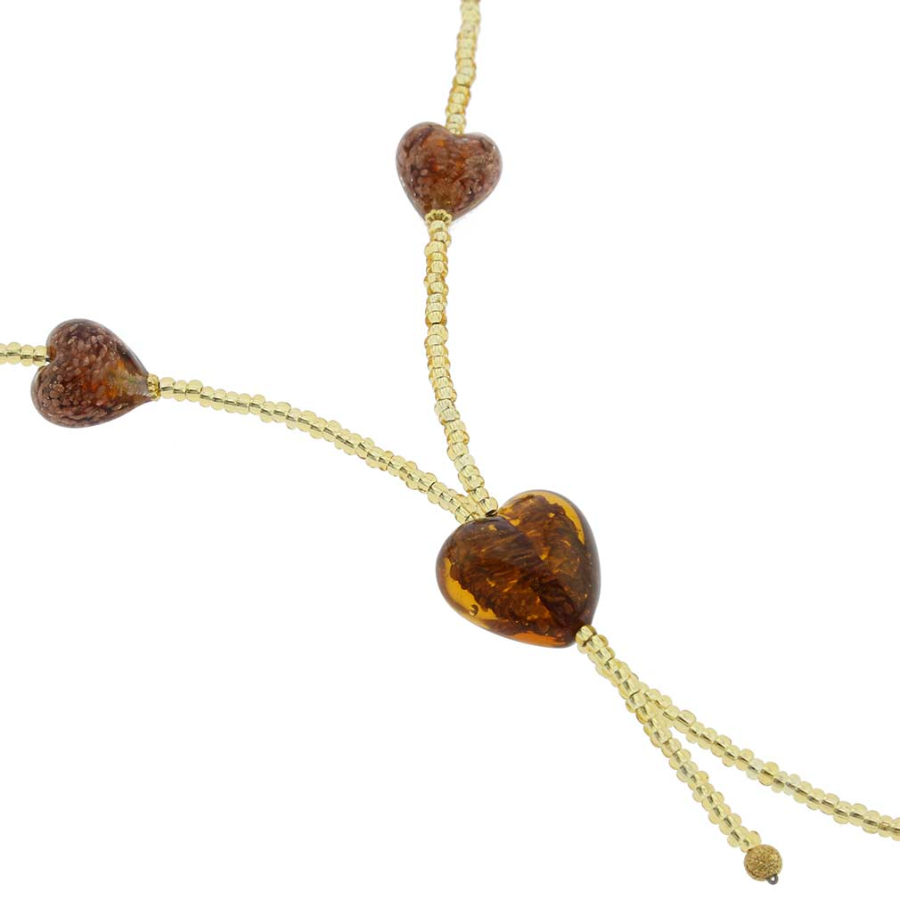 Murano Hearts Tie Necklace - Sparkling Topaz and Gold