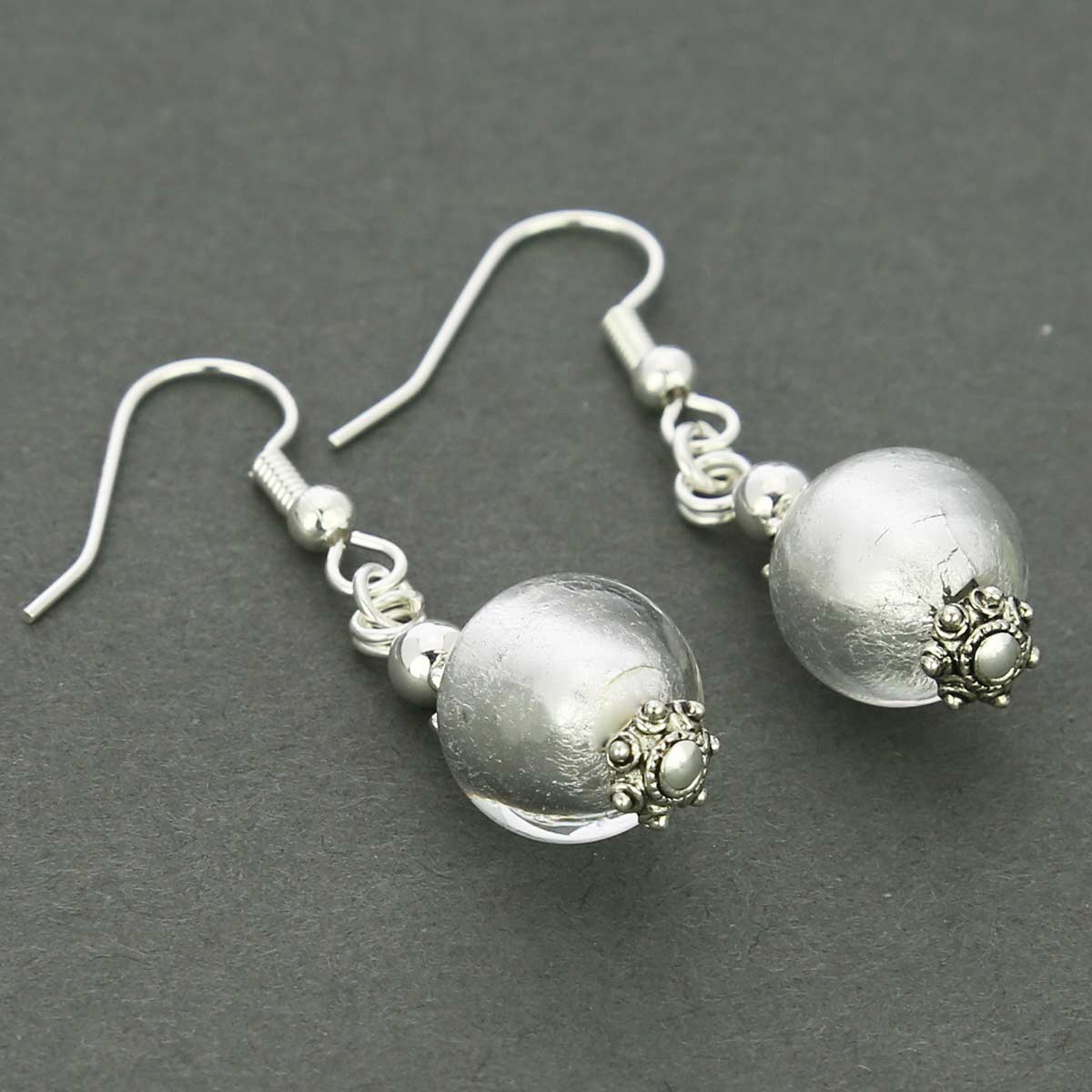 Antico Tesoro Balls Earrings - Silver White