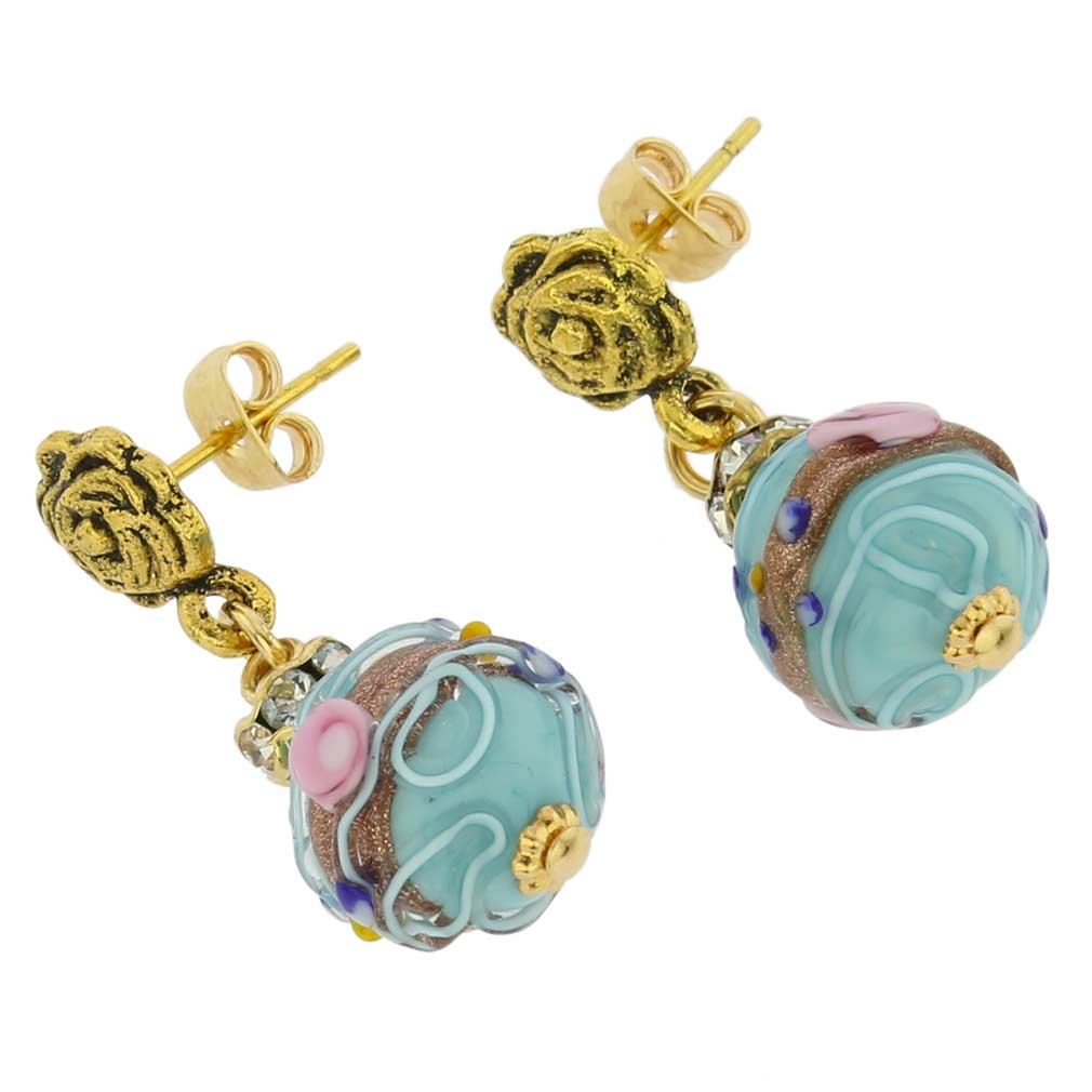 Magnifica Antique Stud Balls Earrings - Aqua