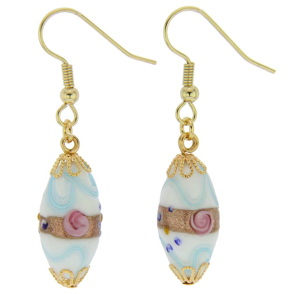 Magnifica Antique Olives Earrings - Cream and Blue