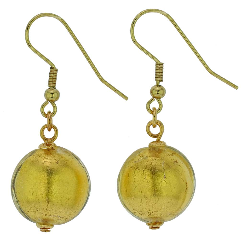 Murano Glass Disk Earrings - Liquid Gold