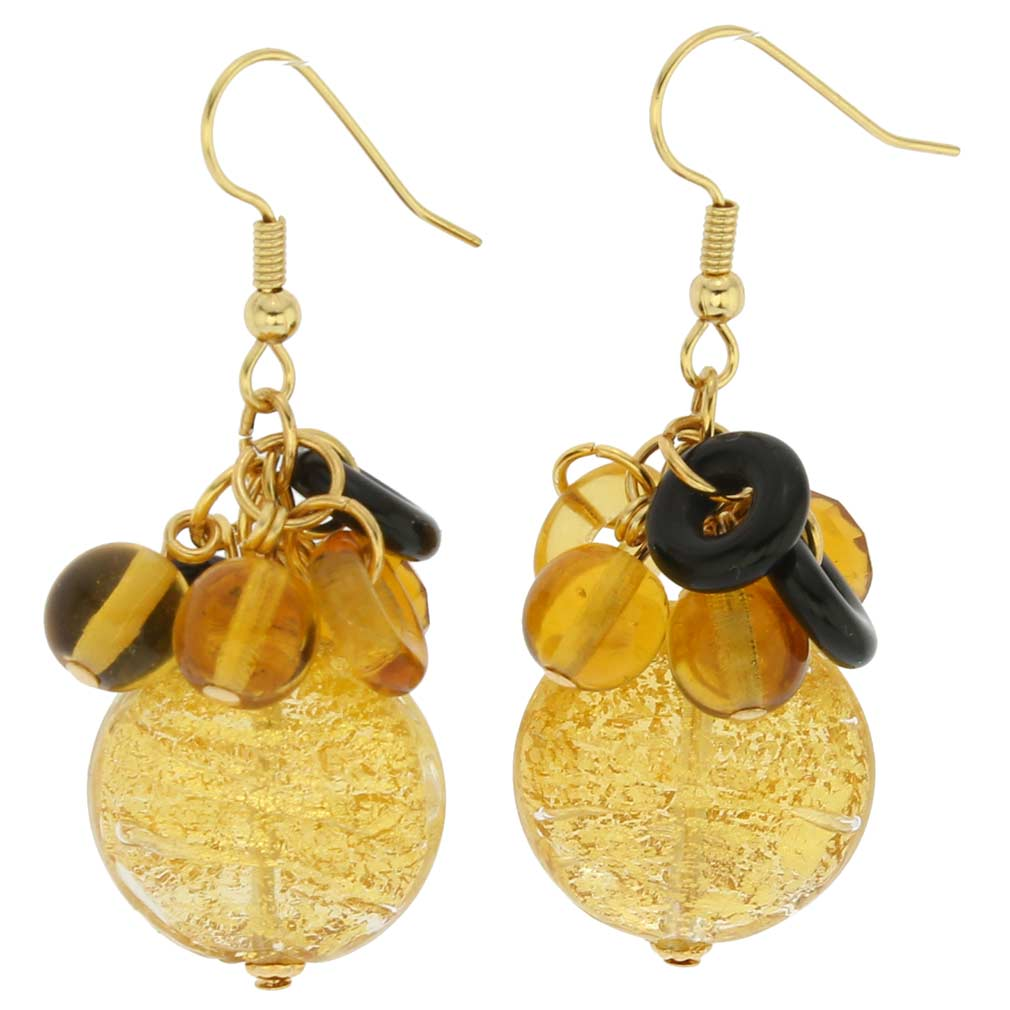 Autumn Colors Gold Foil Murano Dangle Earrings