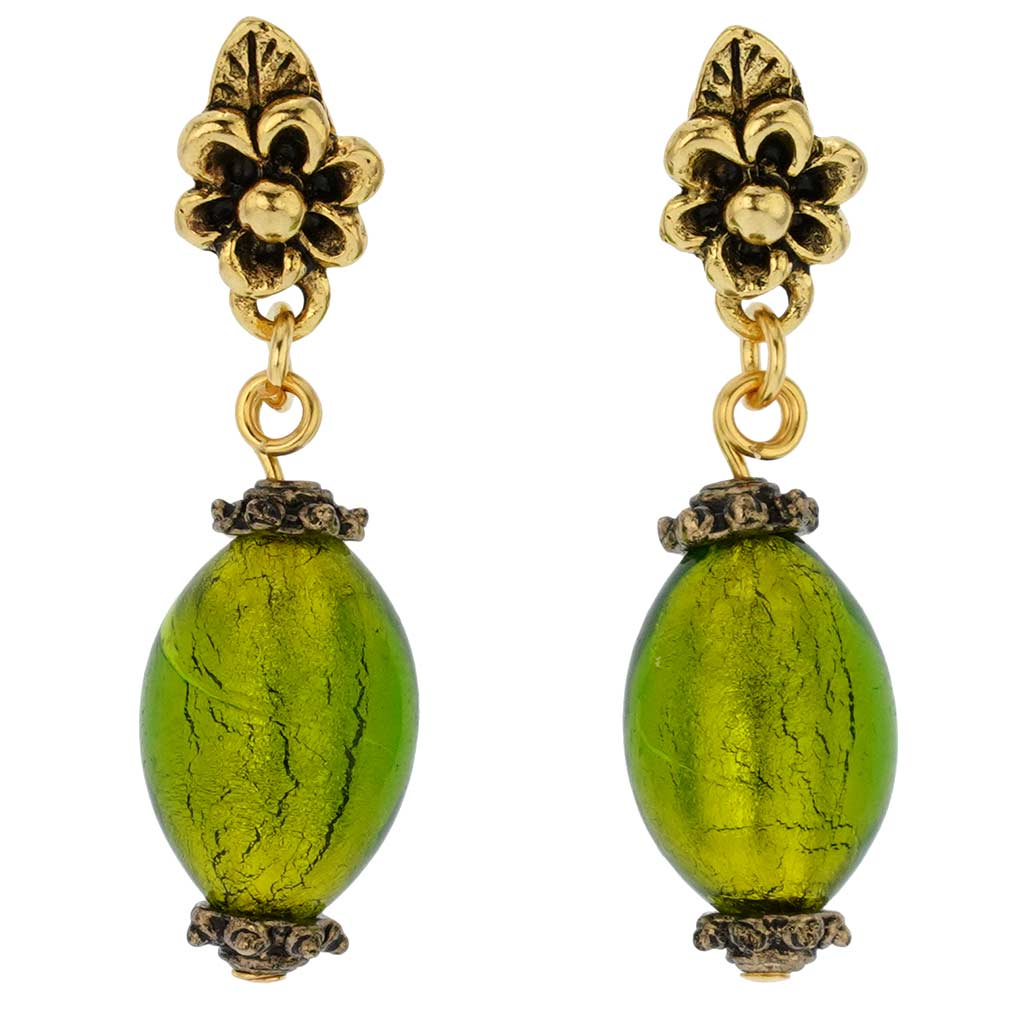 Antico Tesoro Olives Earrings -Lime Green