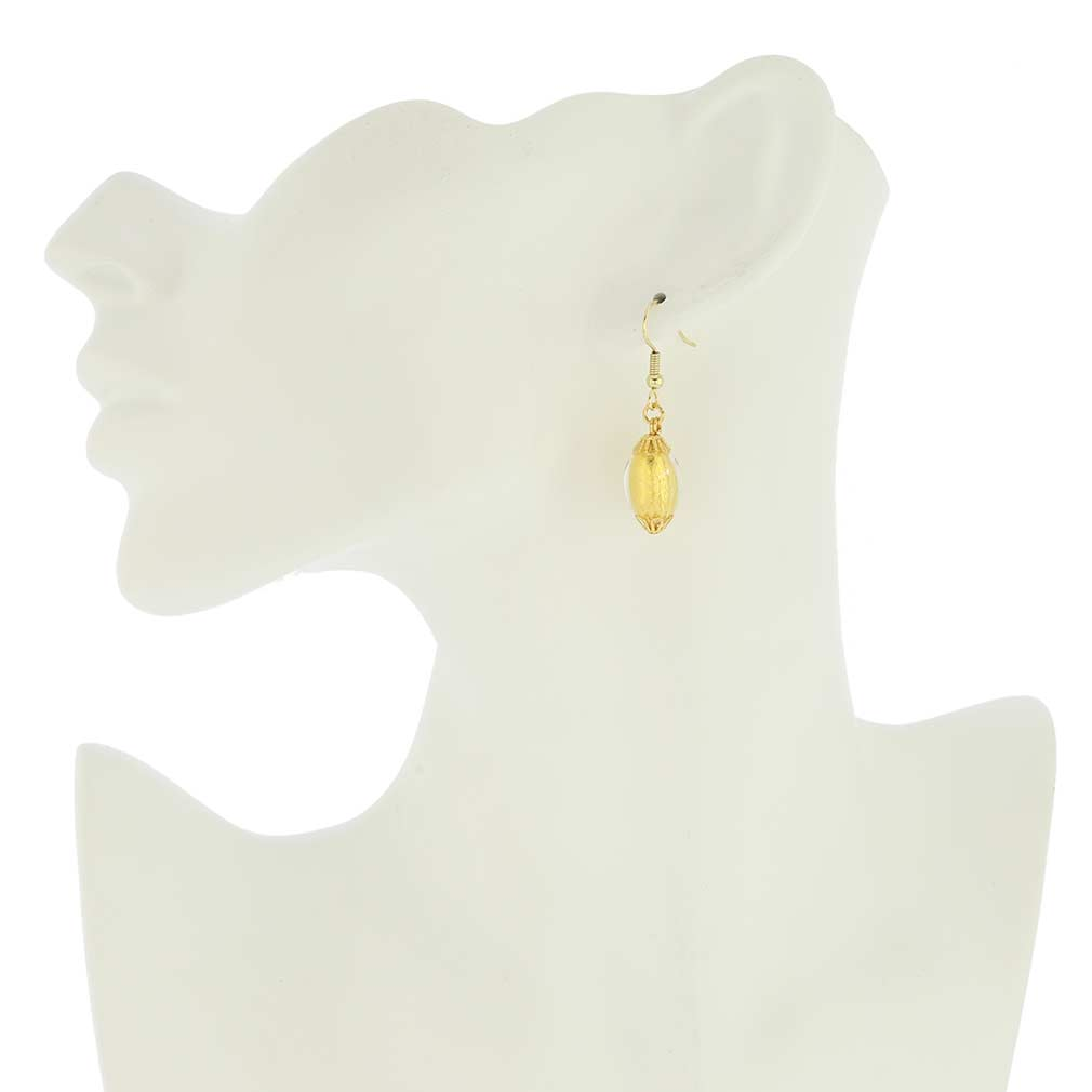 Murano Glass Olives Earrings - Liquid Gold