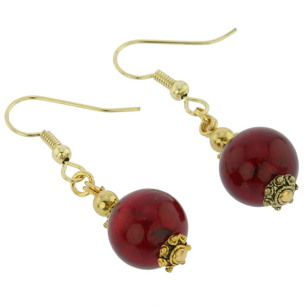 Antico Tesoro Balls Earrings -Ruby Red