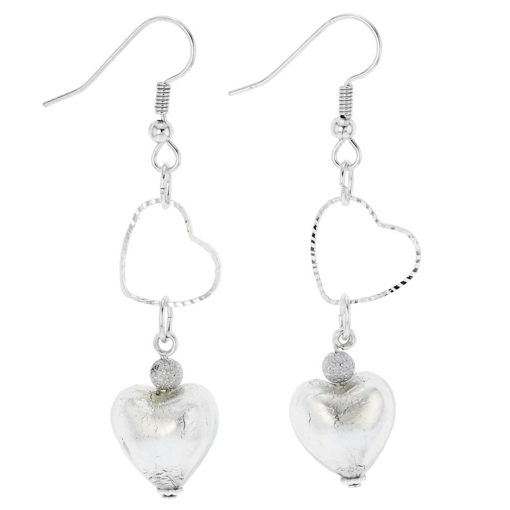 Venetian Wedding Heart earrings - silver ice