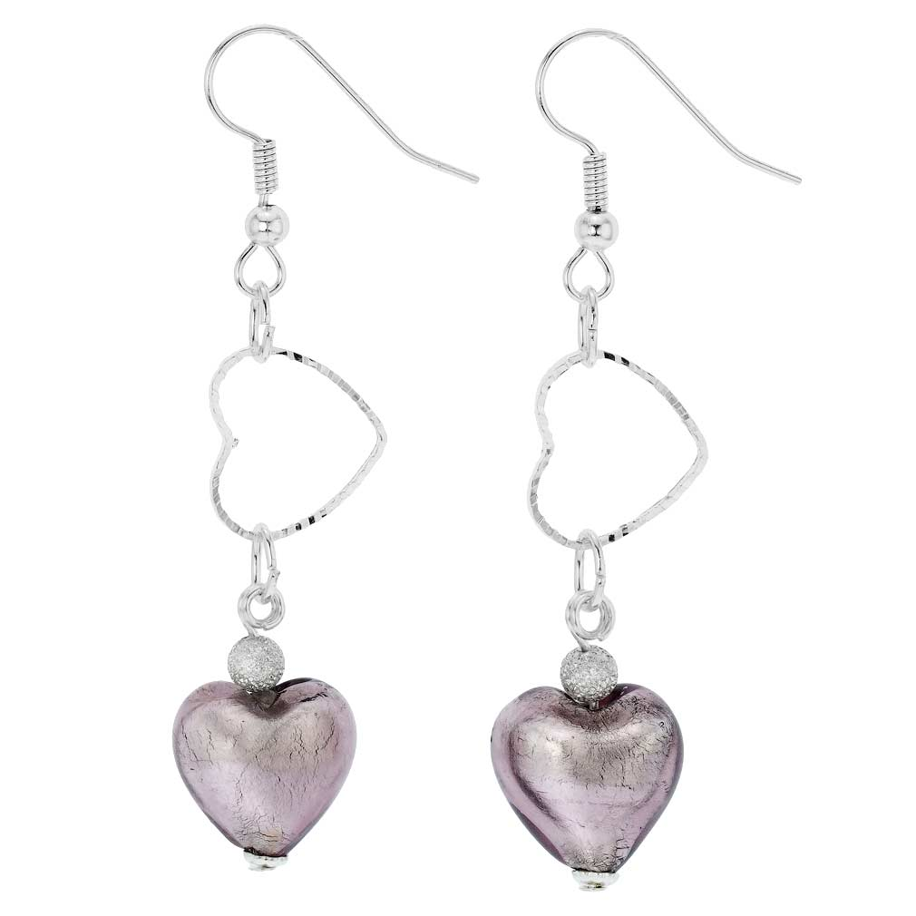 Venetian Wedding Heart Earrings - Amethyst
