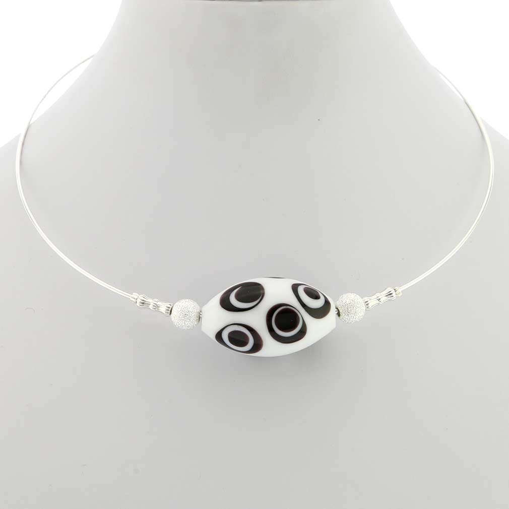 Zebra Murano Glass Choker Necklace