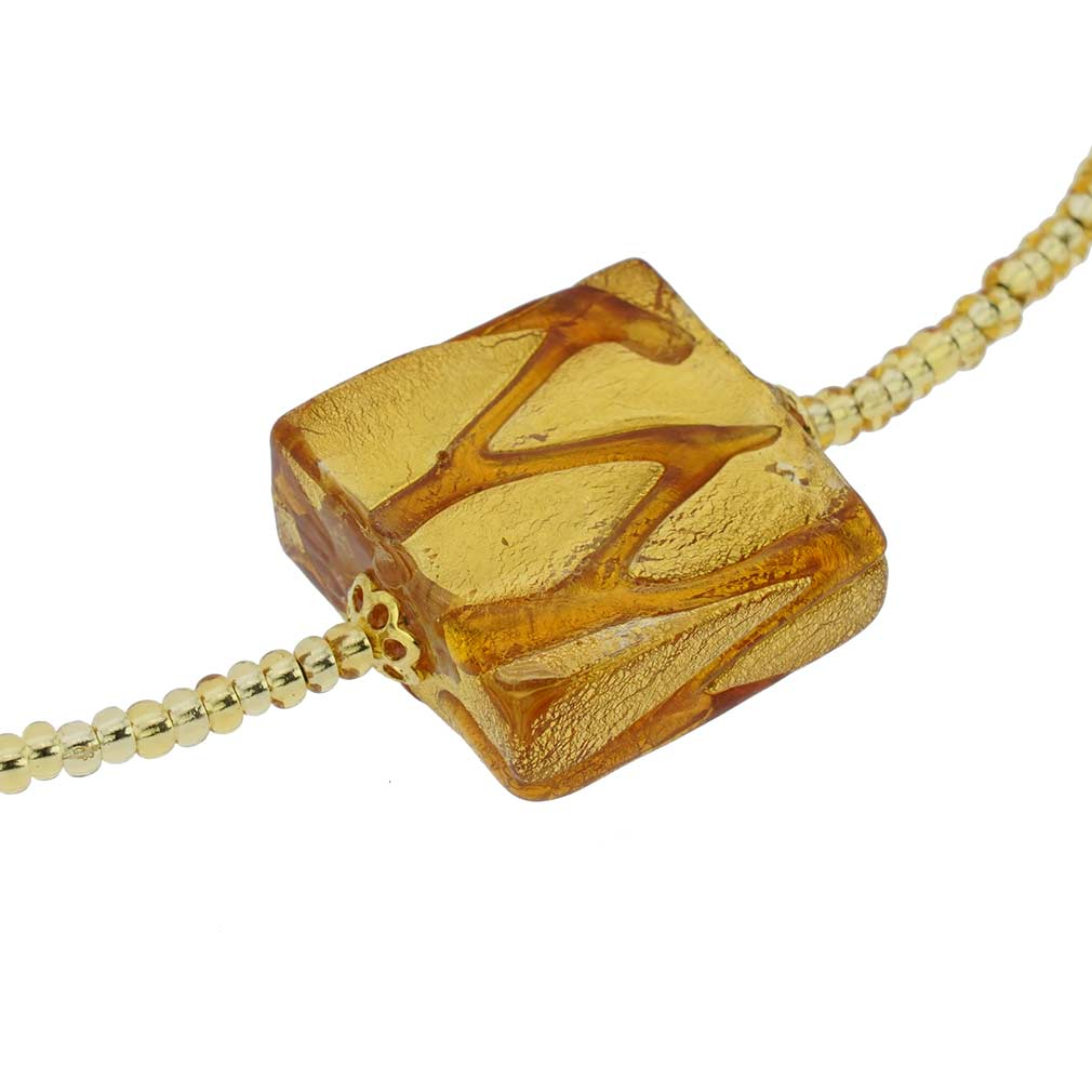 Royal Cognac Square Necklace - 1 Bead