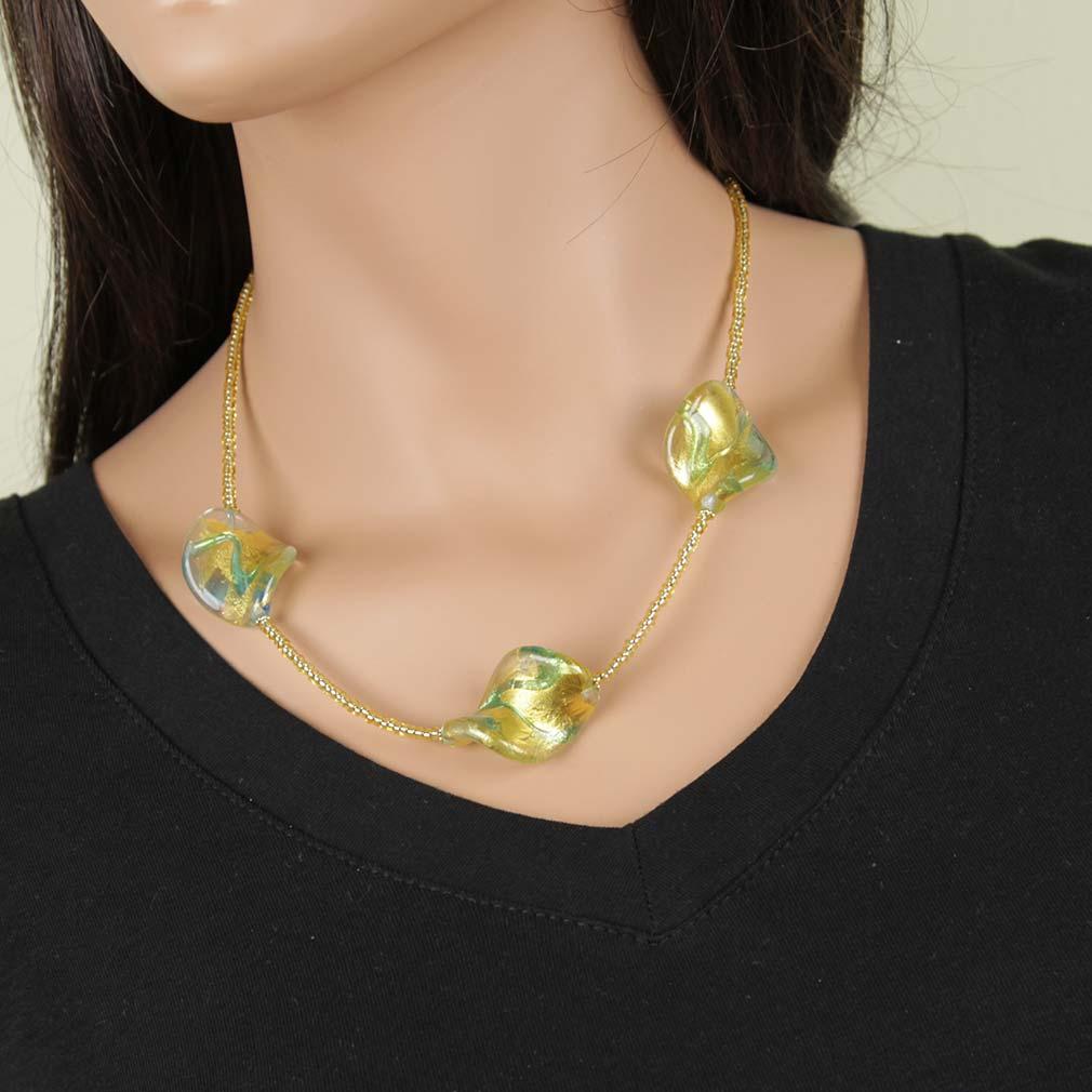 Royal Aqua Spirals Necklace