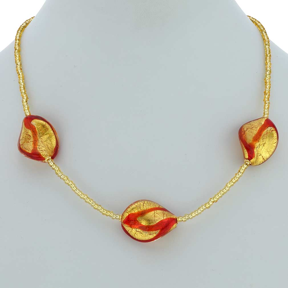 Royal Red Spirals Necklace