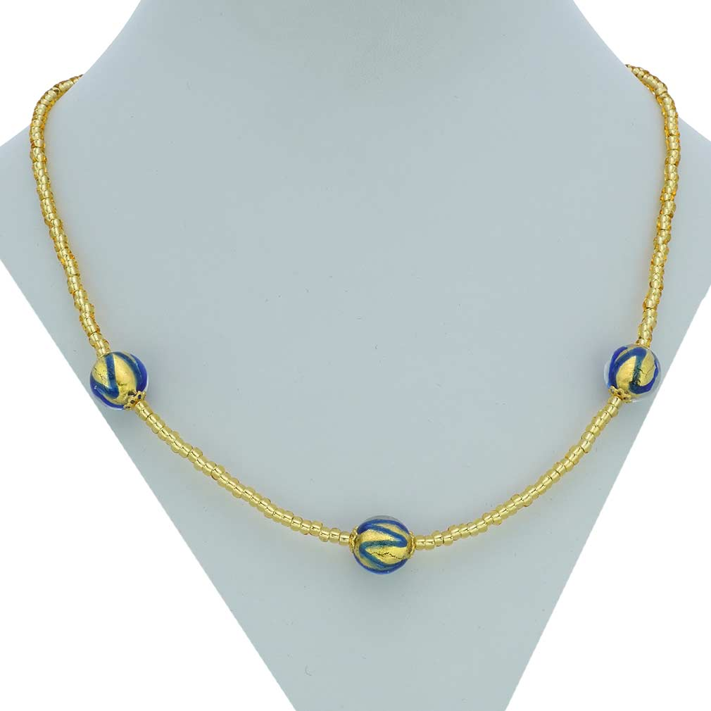 Royal Blue Balls Necklace