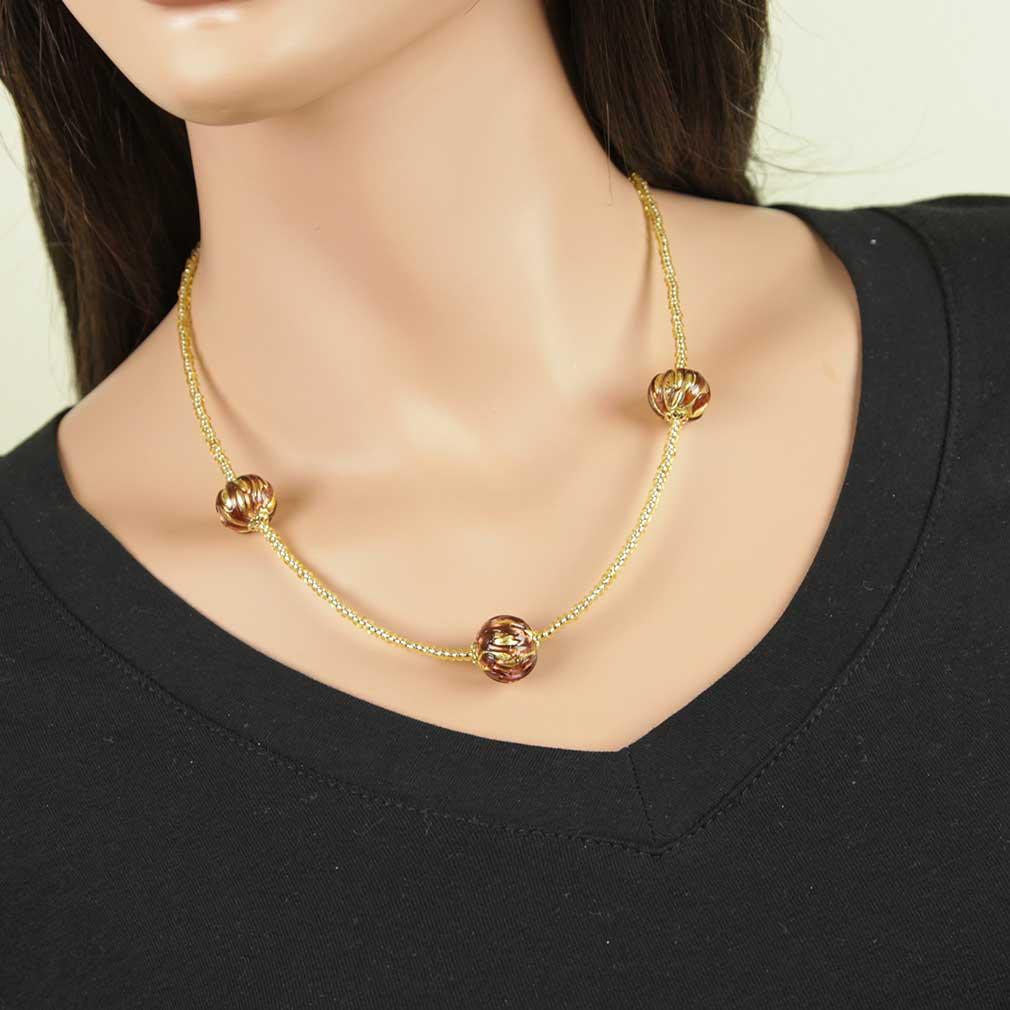 Royal Purple Balls Necklace