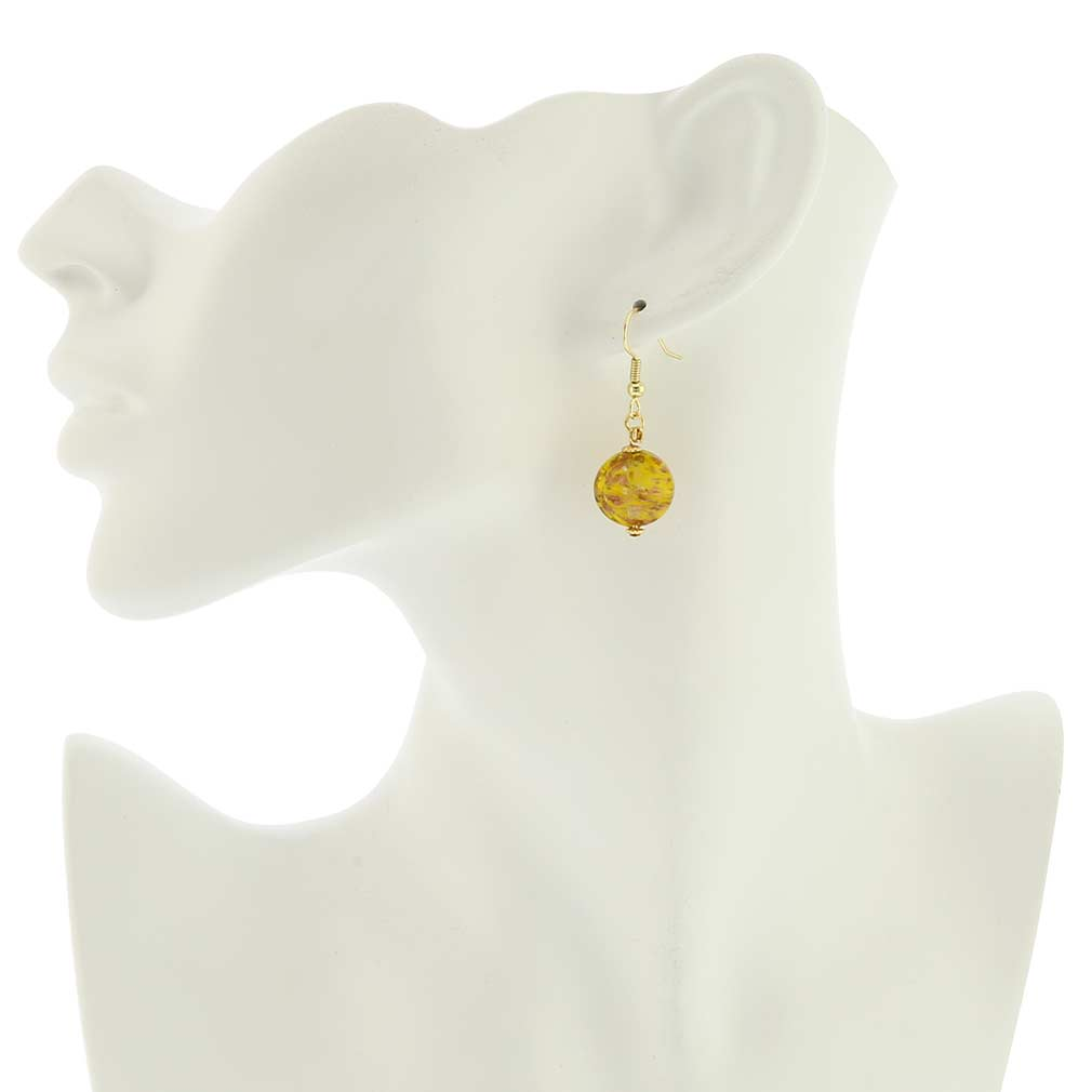 Starlight disk earrings - mustard yellow