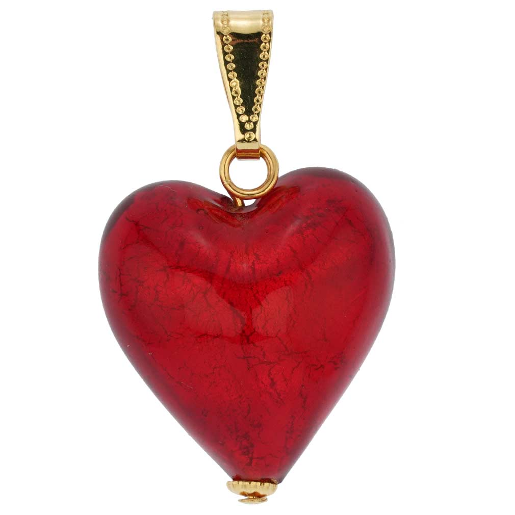 heart pendants store necklaces lampwork misshapen red pendant