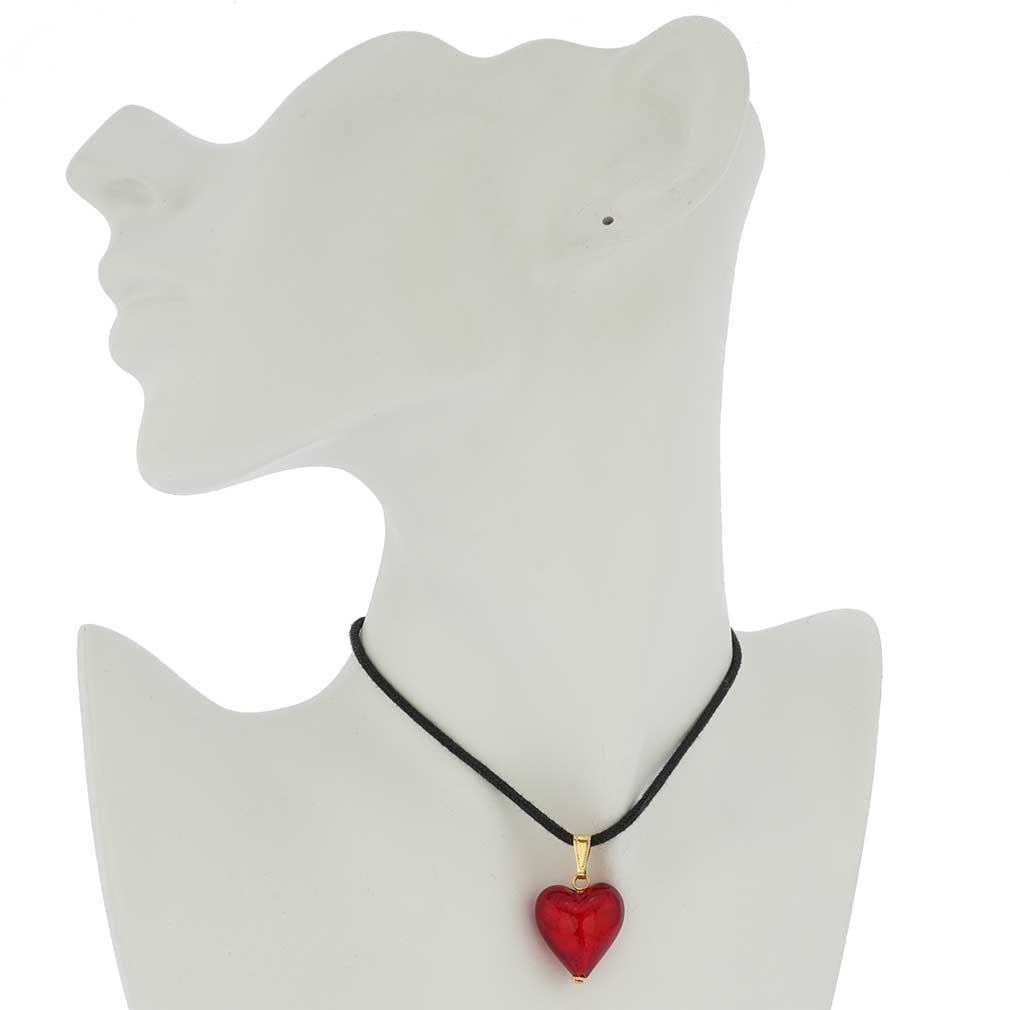 Murano Glass Heart Pendant - Fire Red