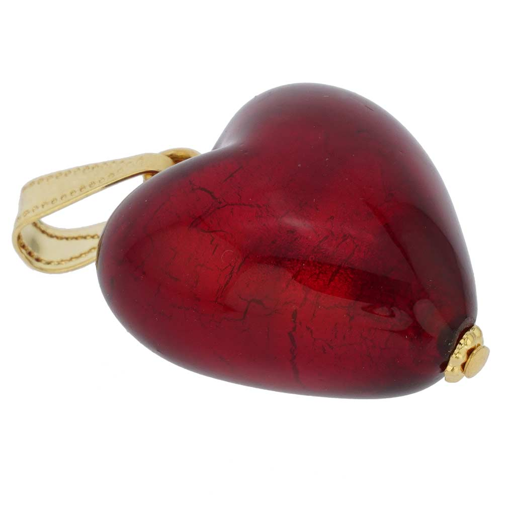 Murano Glass Heart Pendant - Ruby Red